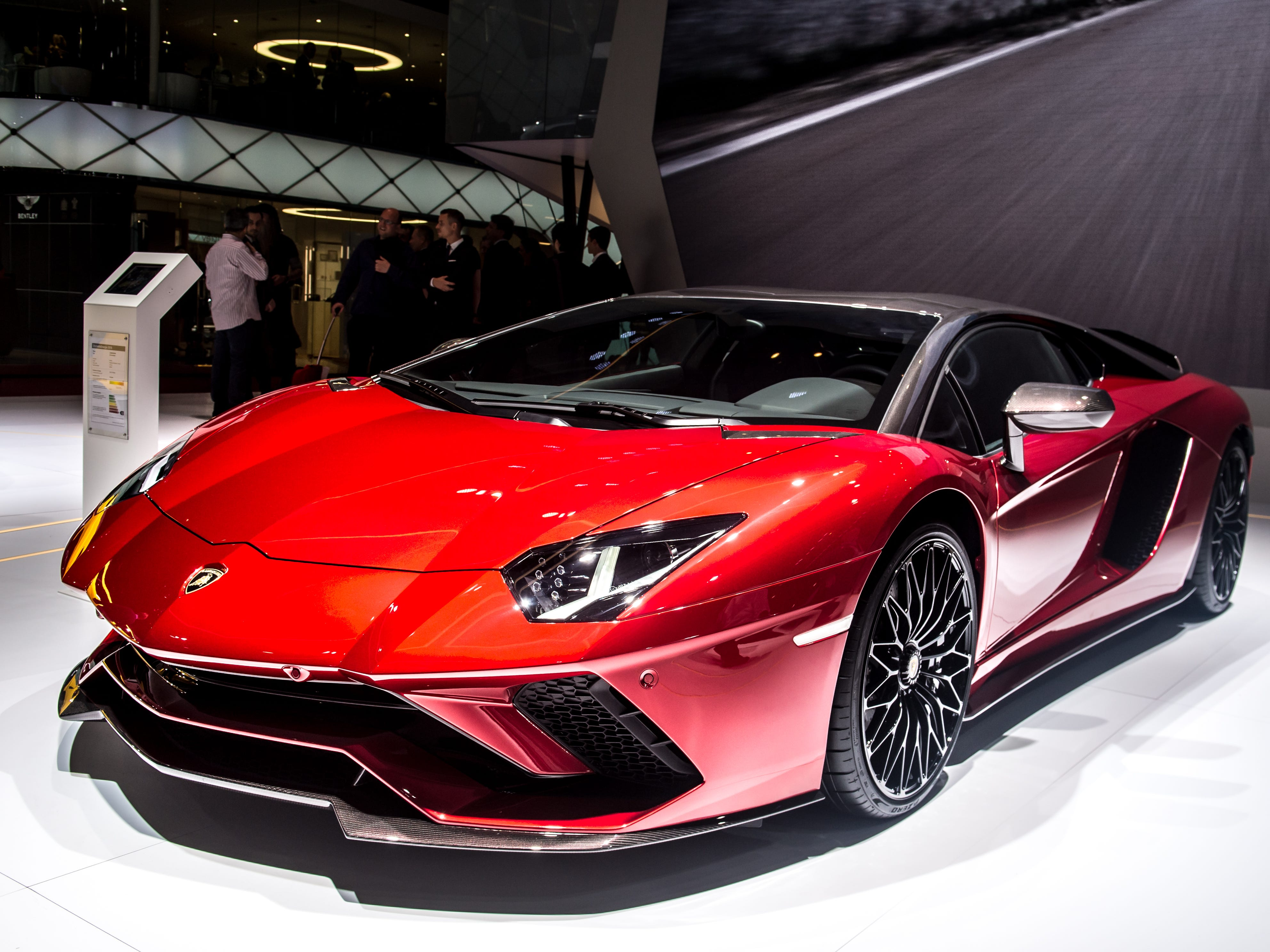 Lamborghini Aventador 834 is displayed at the 88th Geneva International Motor Show on March 6, 2018, in Geneva, Switzerland.