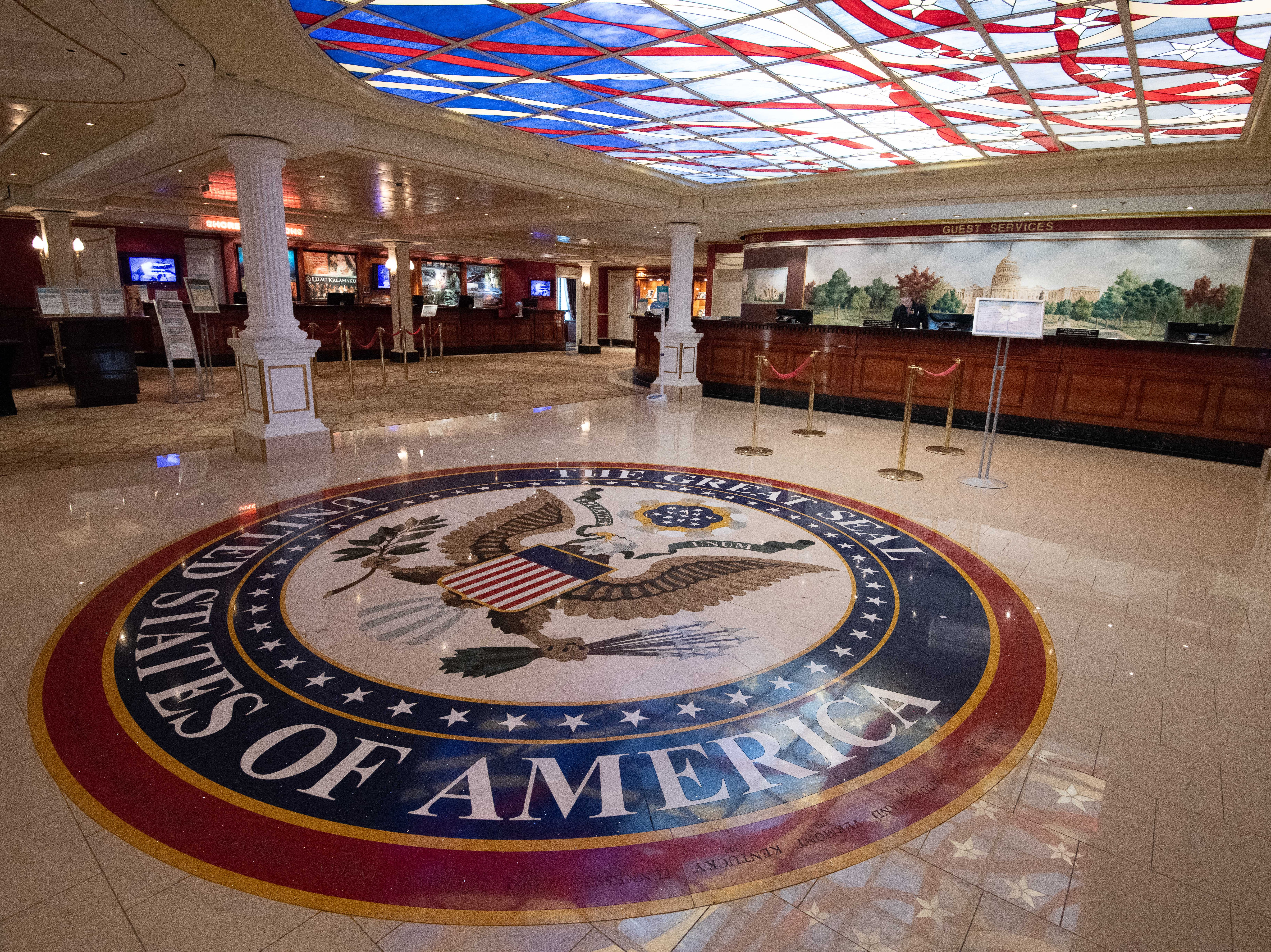 The Great Seal of the United States of America is inlaid into the floor of the Capitol Atrium.