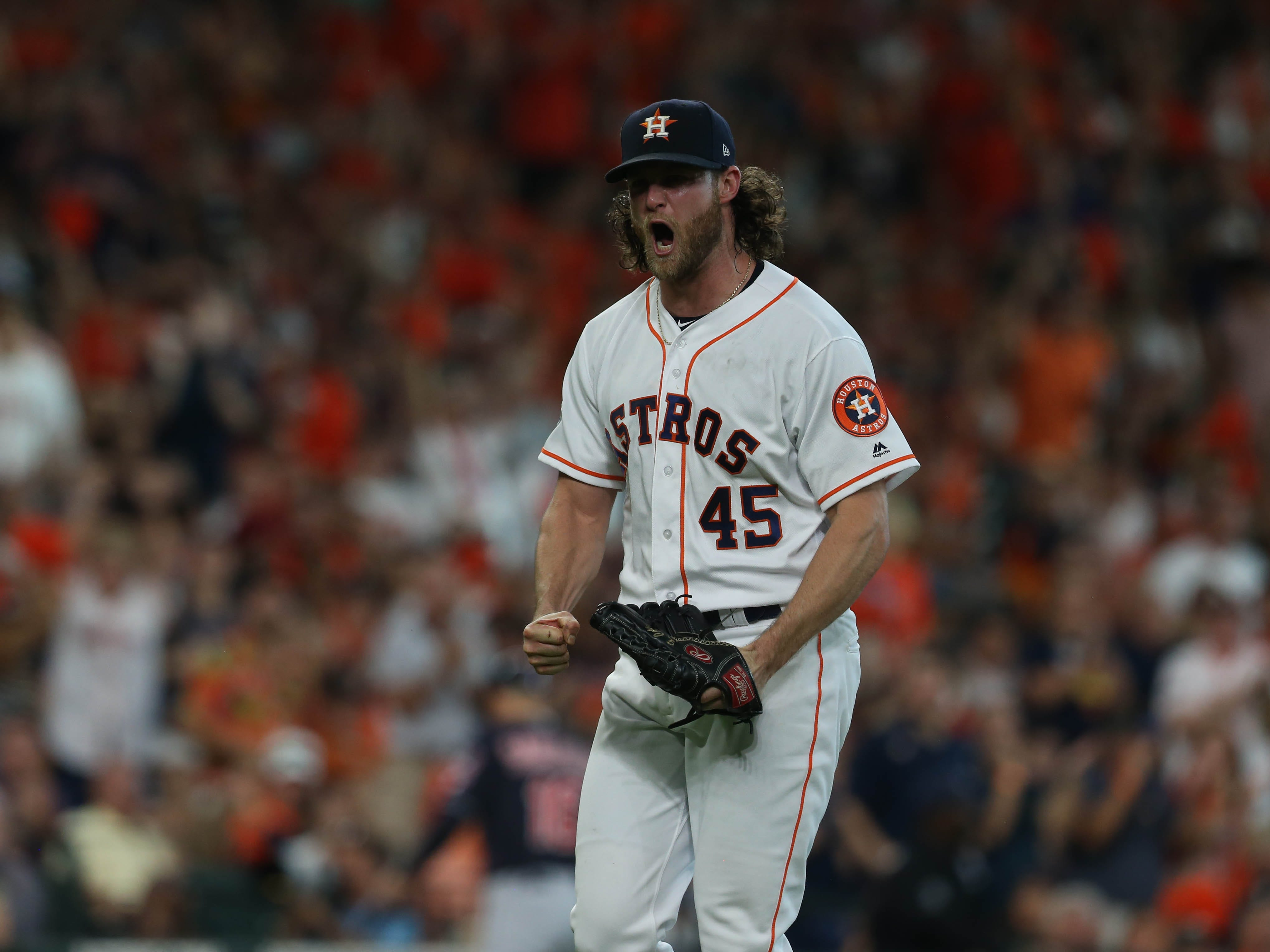 ALDS Game 2: Astros starting pitcher Gerrit Cole reacts after striking out the last batter in the sixth inning.