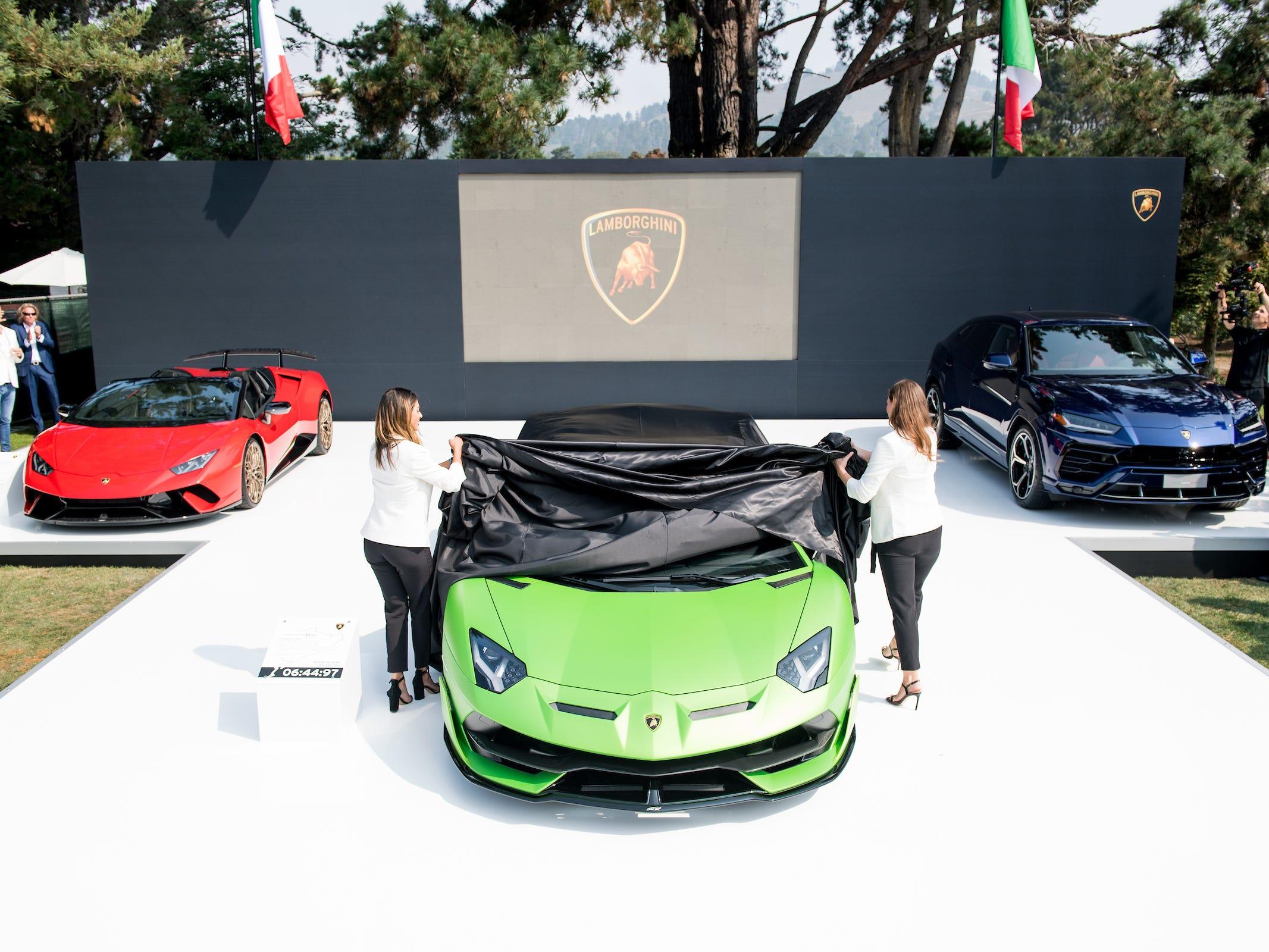 Unveiling of Aventador SVJ at The QuailLamborghini Aventador SVJ.