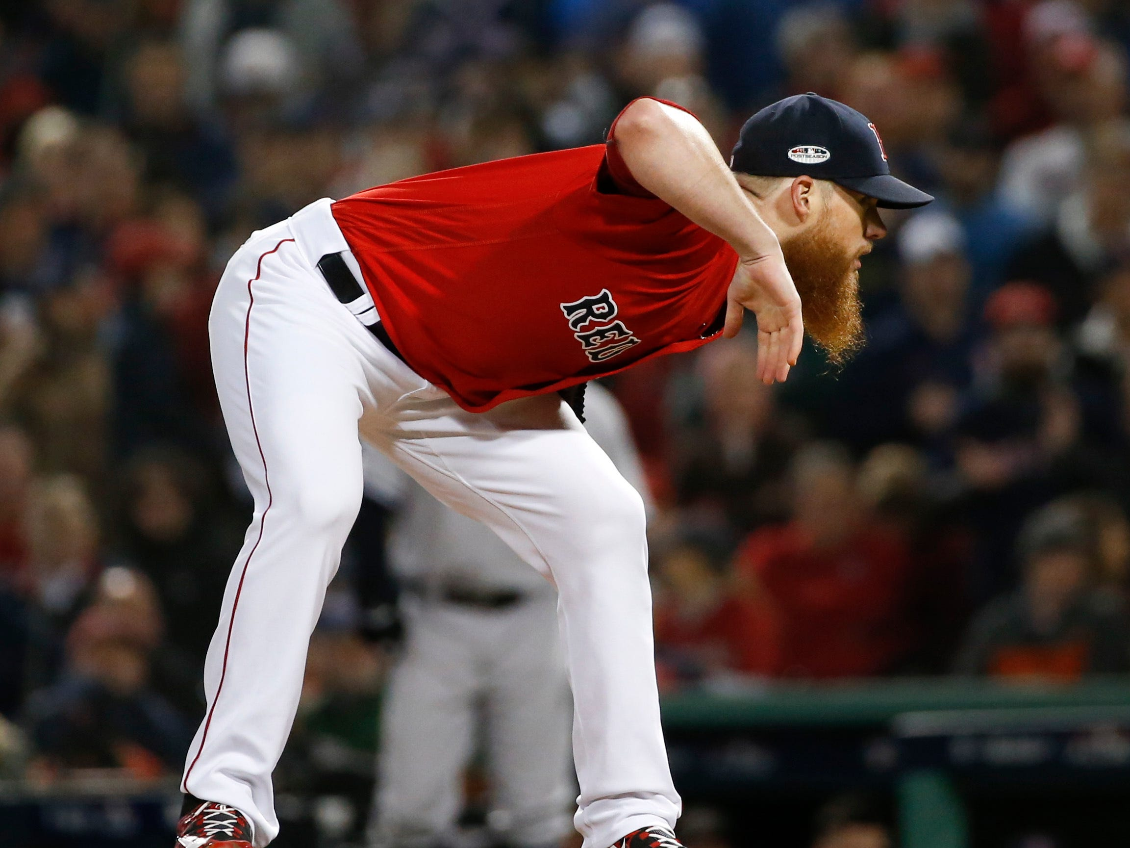 ALDS Game 1: Red Sox closer Craig Kimbrel in the stretch.