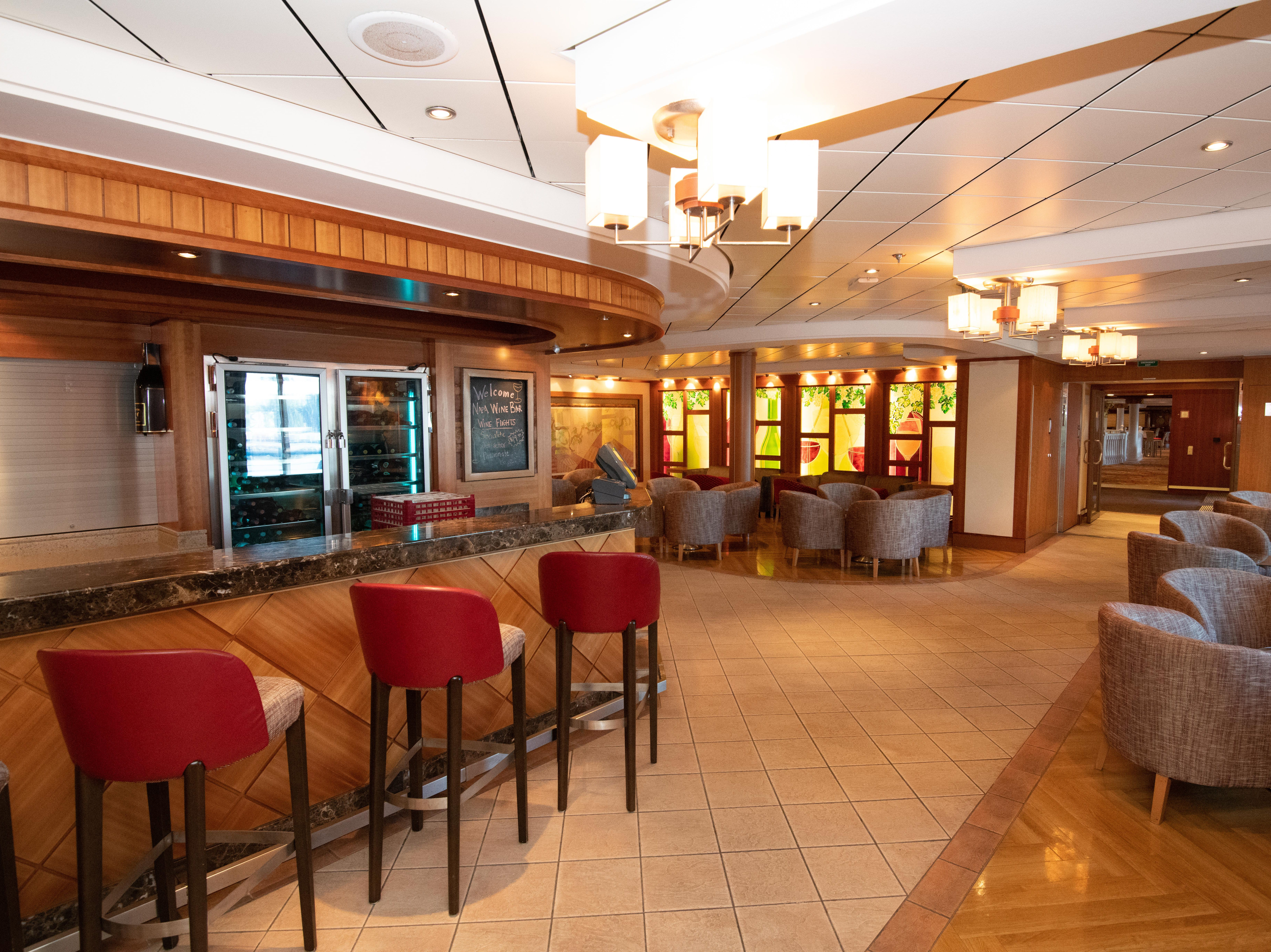 Located on Deck 6, the Napa Wine Bar is a wine-focused bar.