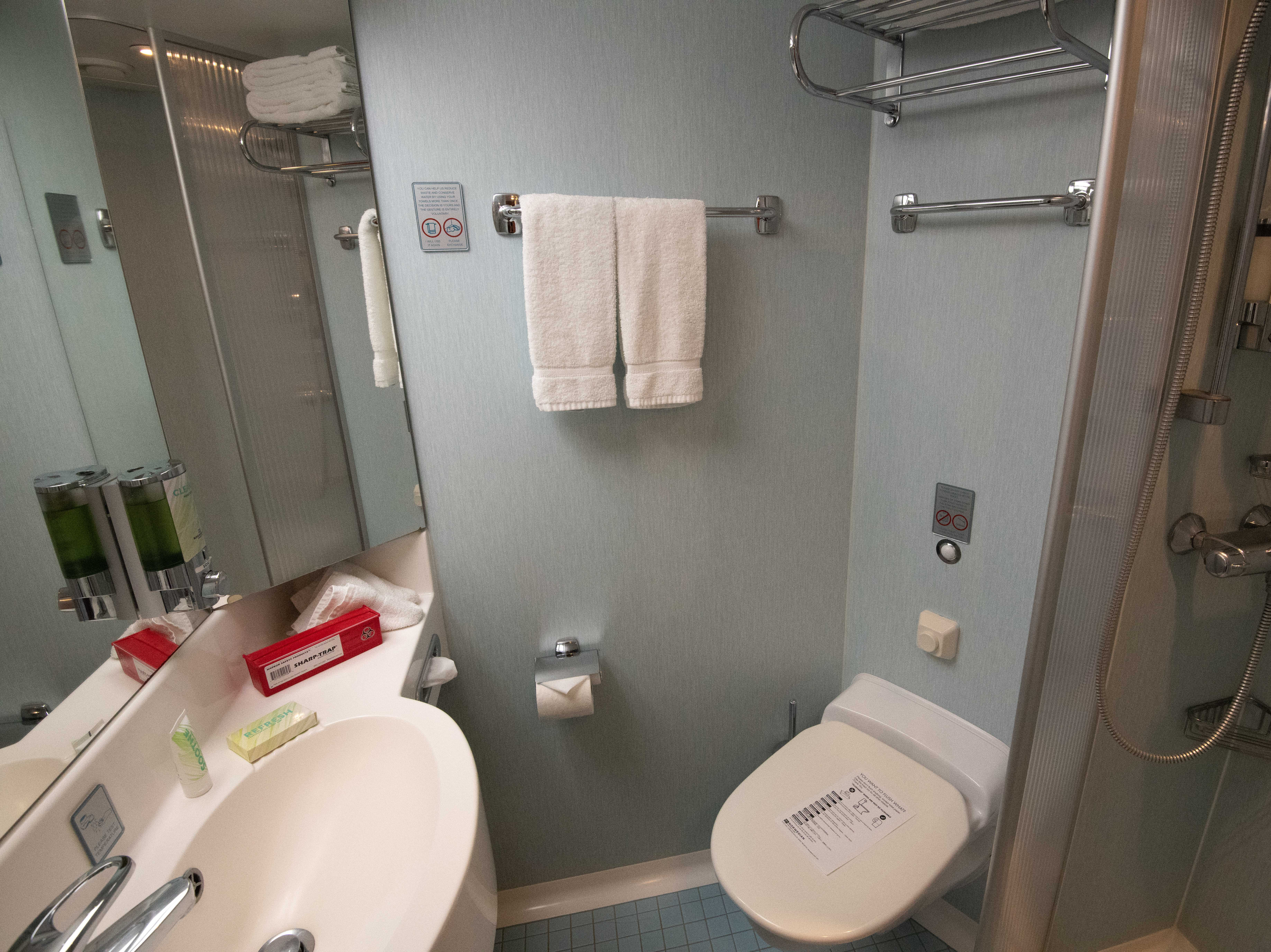 The bathrooms found in most Pride of America cabins have a single sink, toilet and shower.