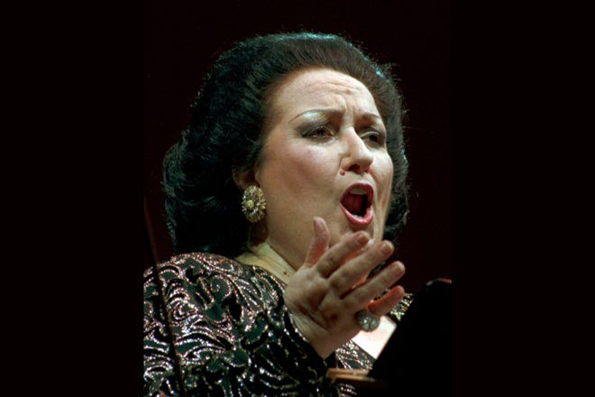 Montserrat Caballe during a concert in Dresden, Germany on July 13, 1996.