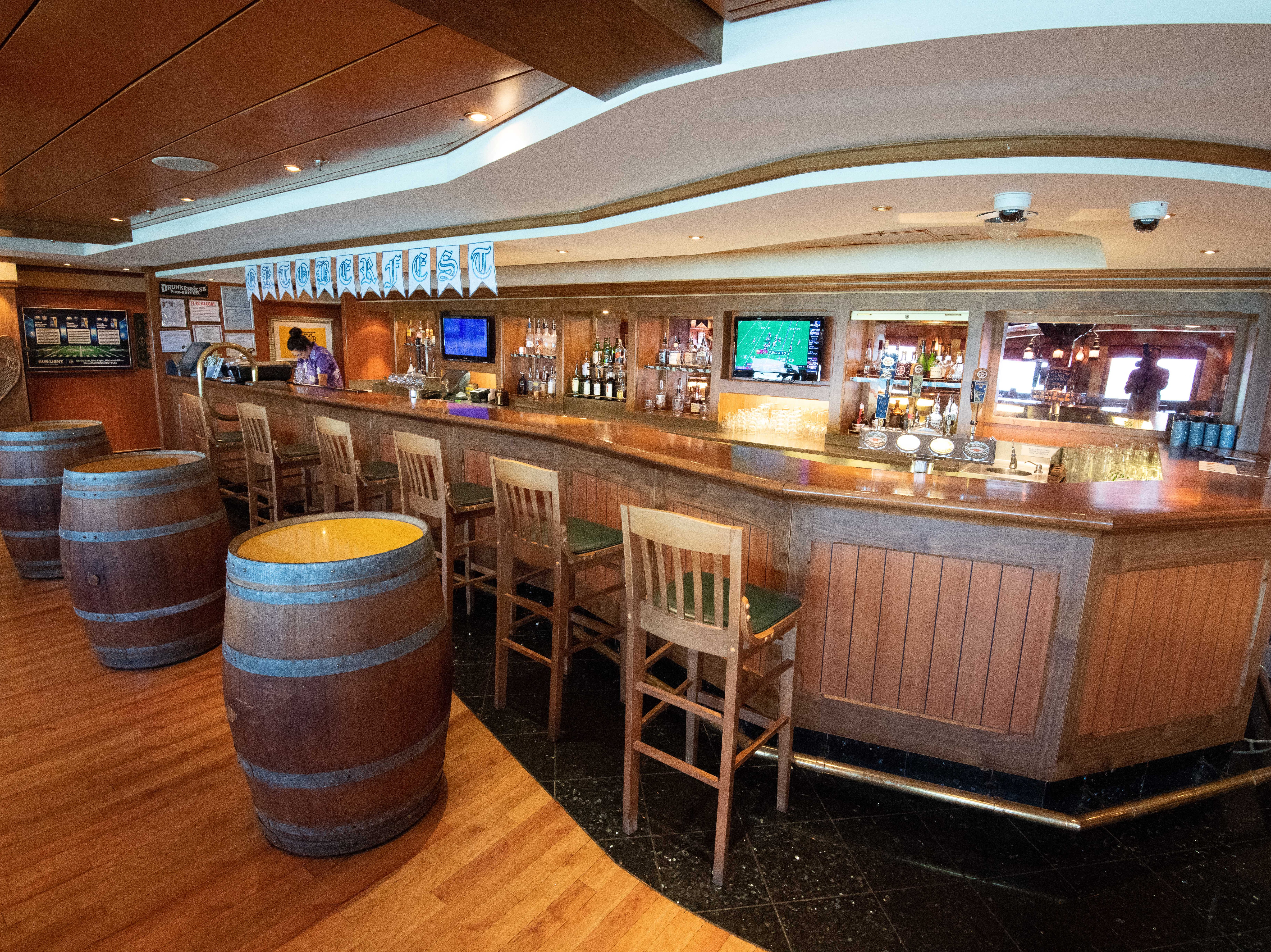 The Gold Rush Saloon, on Deck 11, is a 102-seat, Western-style pub themed around the Alaska Gold Rush that began in 1849.