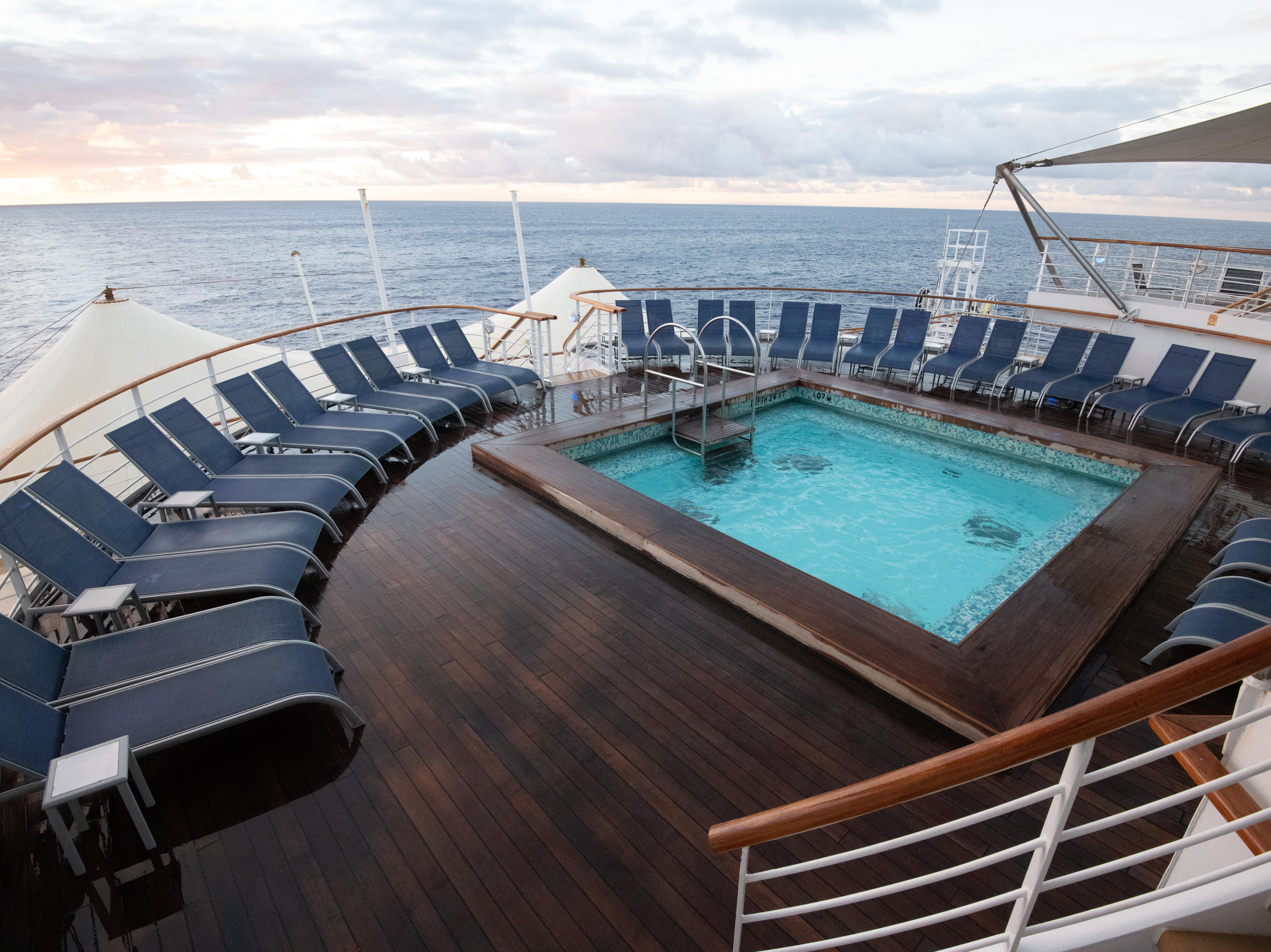 A second pool area is located at the back of the ship on Deck 12. Called the Oasis Pool, it is ringed with lounge chairs.