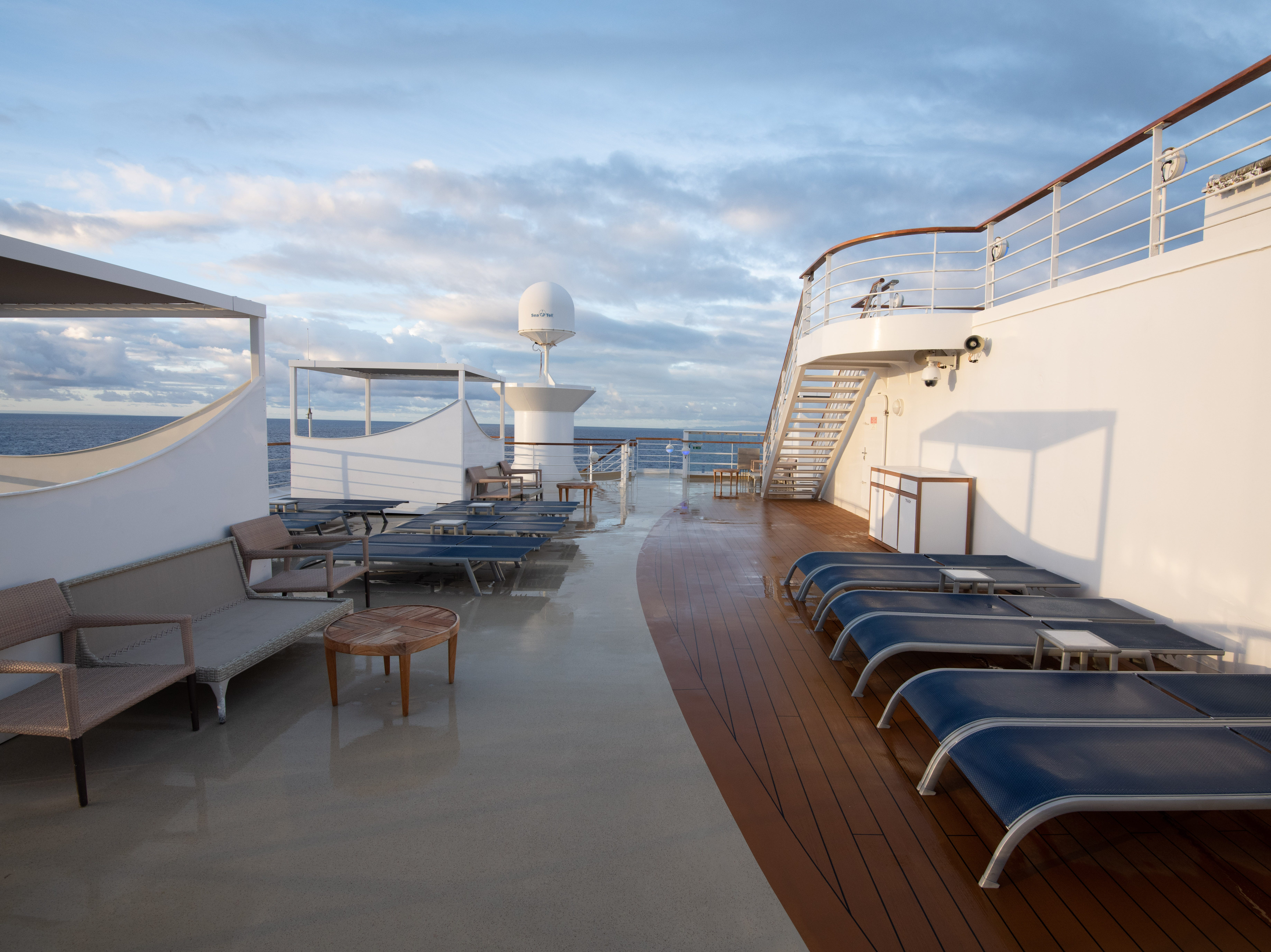In addition to sun lounging areas around its main pool on Deck 11, Pride of America has extensive lounging spaces toward the front of the vessel on Deck 14.