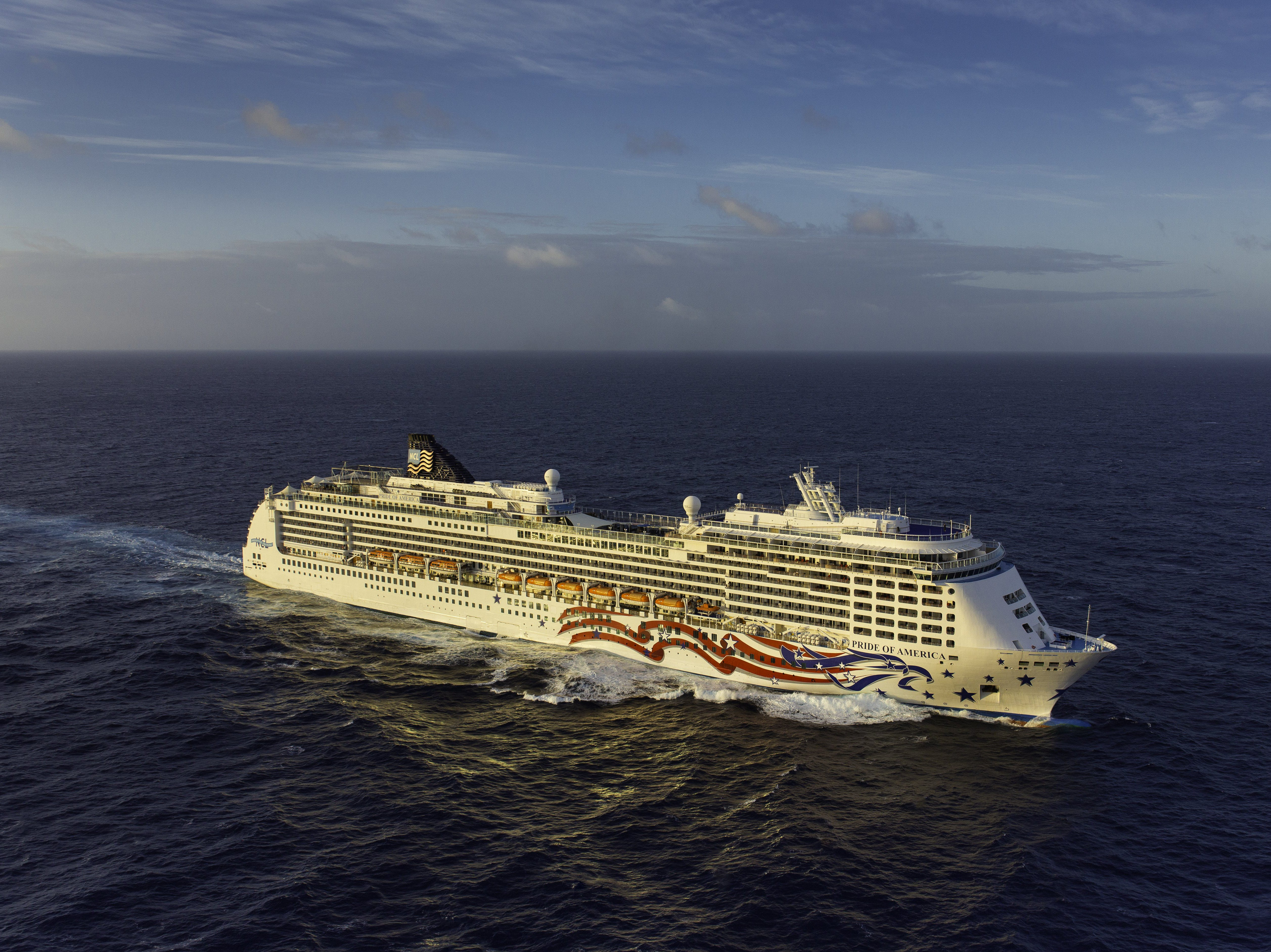 Unveiled in 2005, Norwegian Cruise Line's 2,186-passenger Pride of America sails year-round in the Hawaiian Islands.
