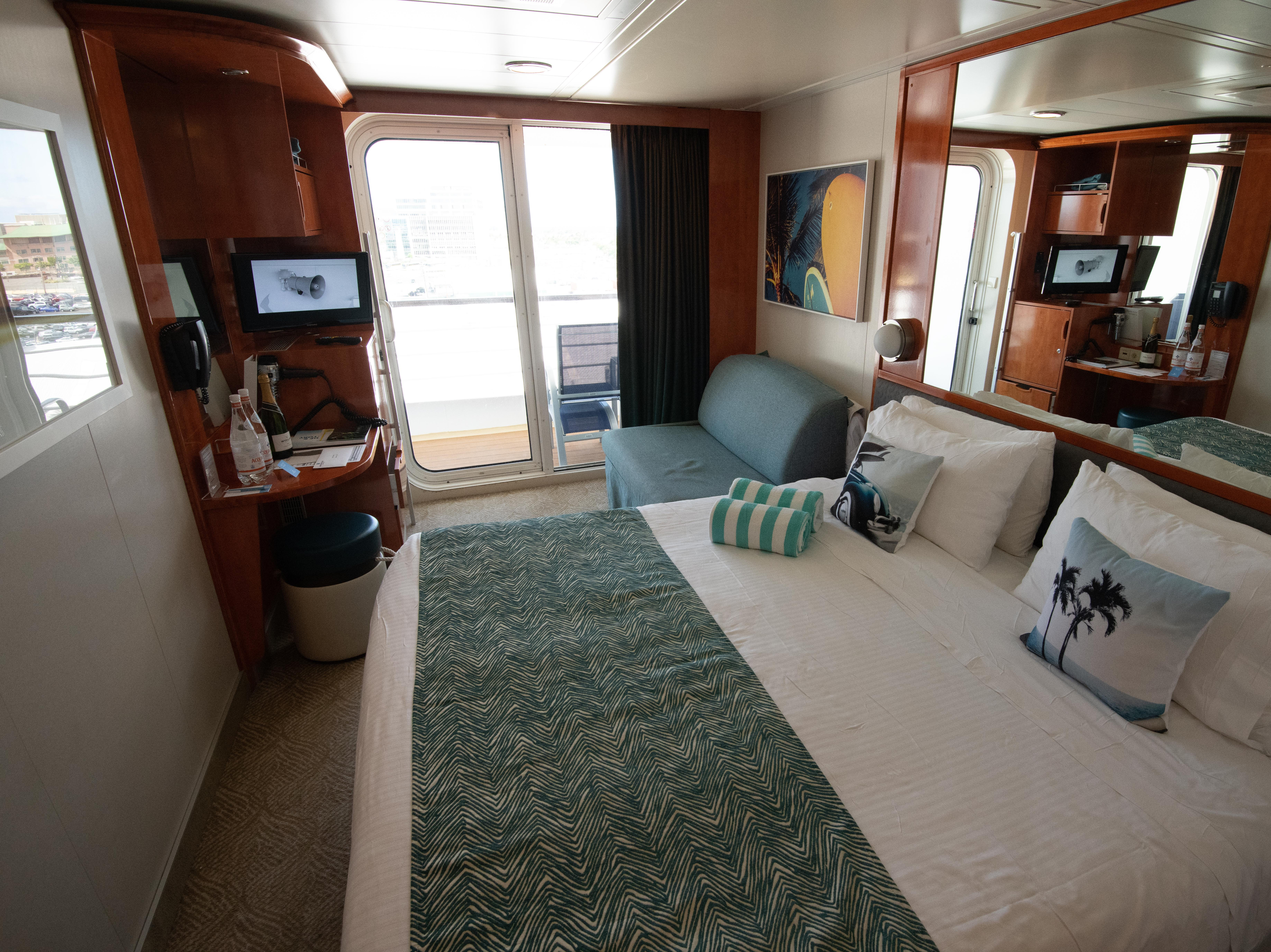 """Pride of America has 1,096 cabins, more than half of which are balcony cabins such as the room shown here. The ship has 613 balcony cabins, 178 ocean-view cabins and 224 windowless """"inside"""" cabins. There also are 77 suites and four studio cabins for singles."""