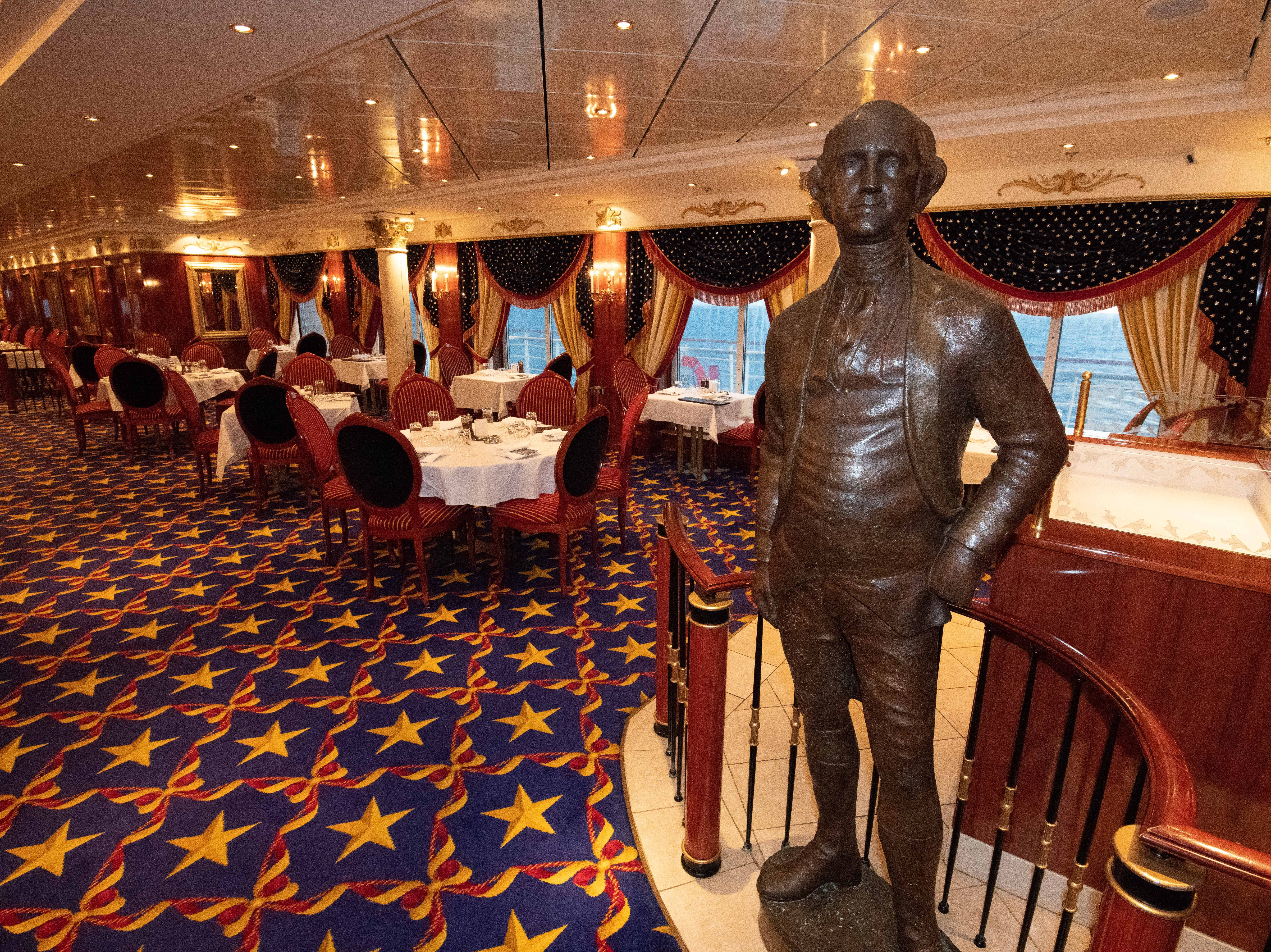 Statues of America's Founding Fathers greet diners at the American-themed Liberty Main Dining Room, which seats 417 people.