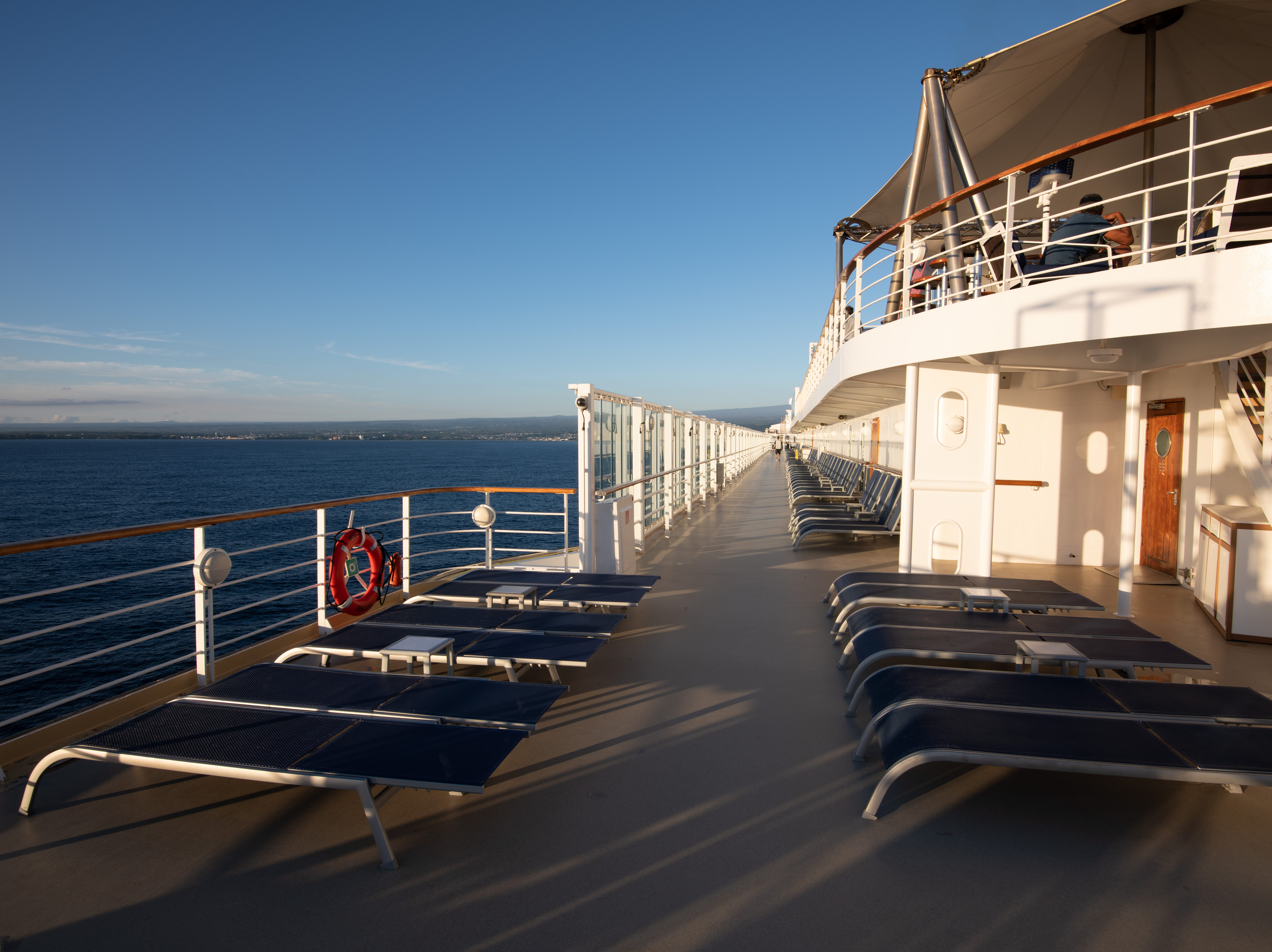 A notable characteristic of Pride of America is its wide-open deck areas full of lounge chairs.