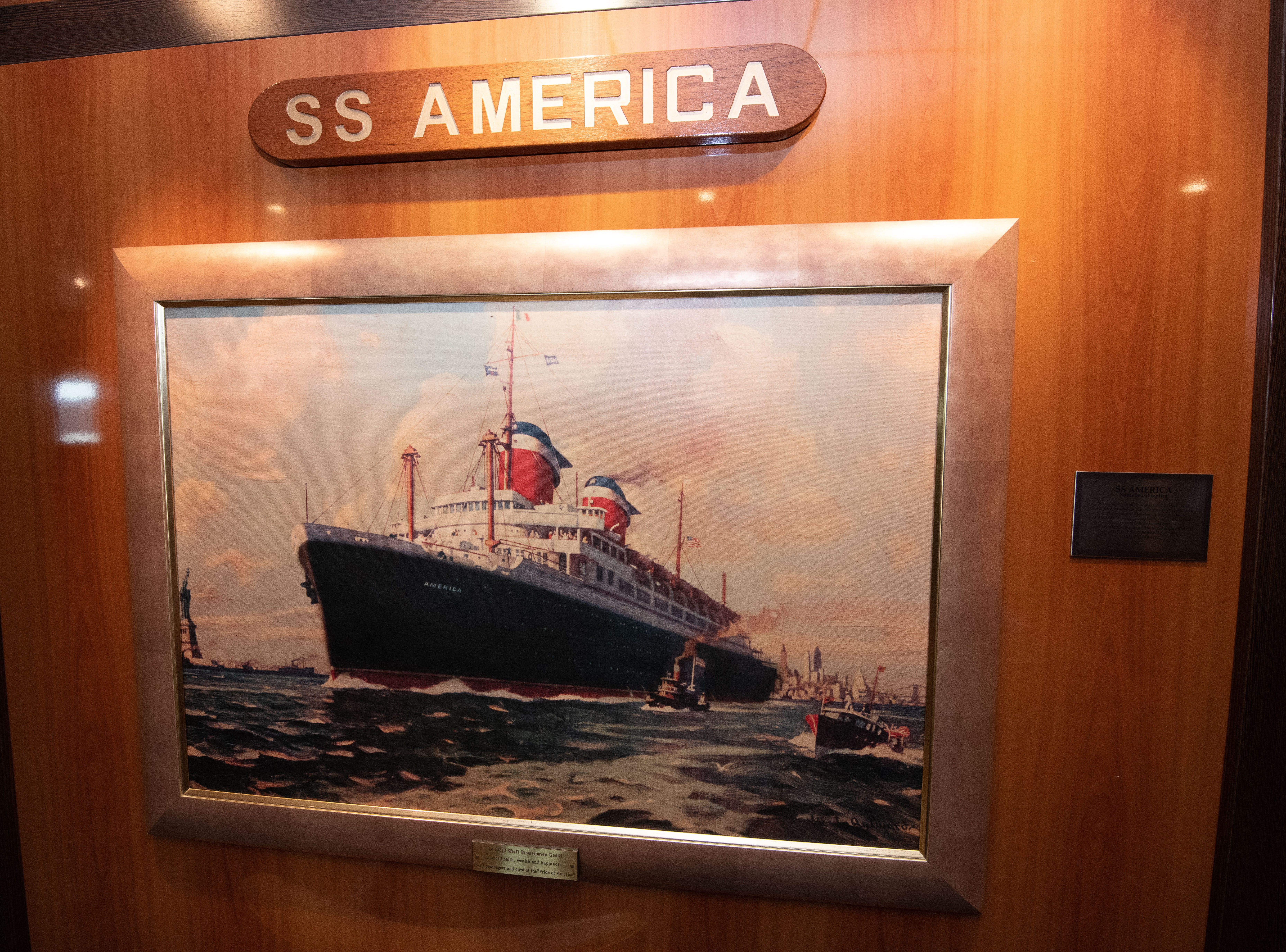 A painting of the ocean liner SS America is a focal point of the SS America Library.