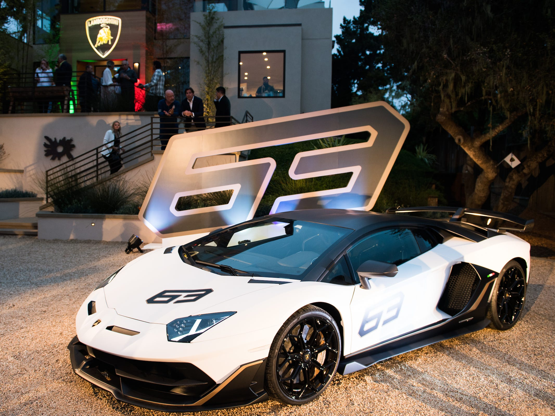 Aventador SVJ 63 on display at Lamborghini Lounge Monterey.