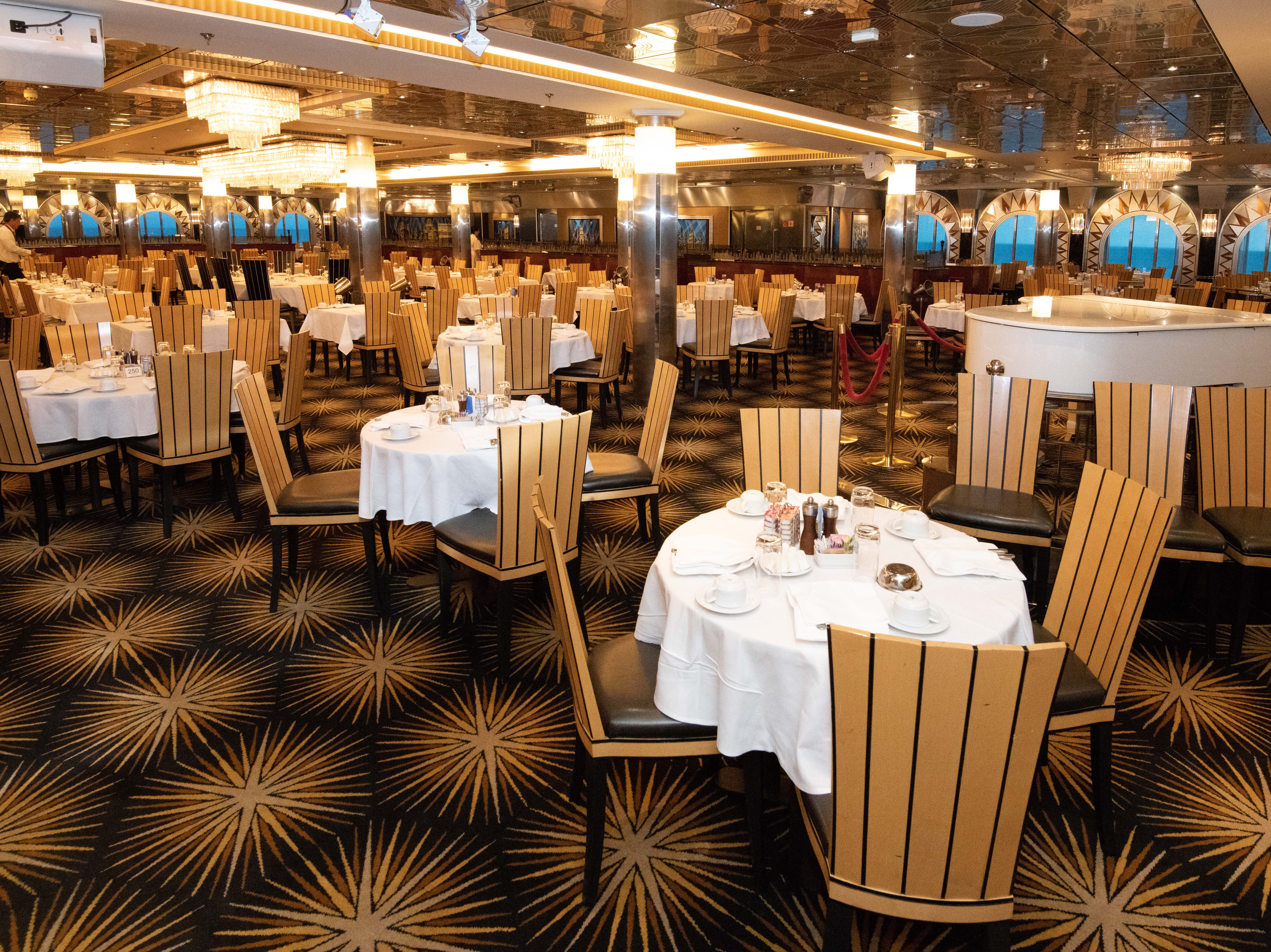 Pride of America offers six complimentary dining options, one of the biggest of which is the 574-seat Skyline Main Dining Room.