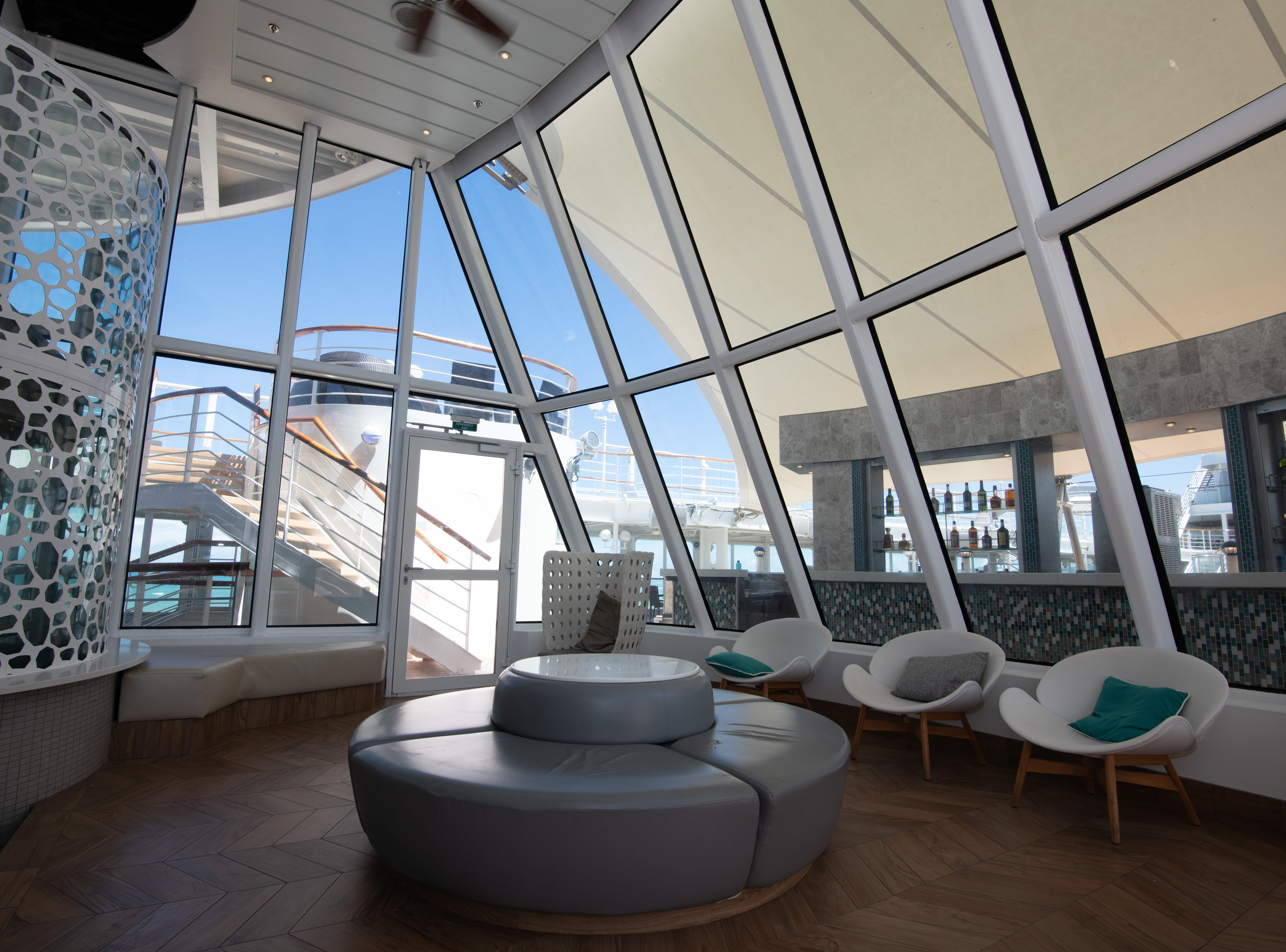 The Conservatory, on Deck 11, is a quiet, glass-enclosed space.