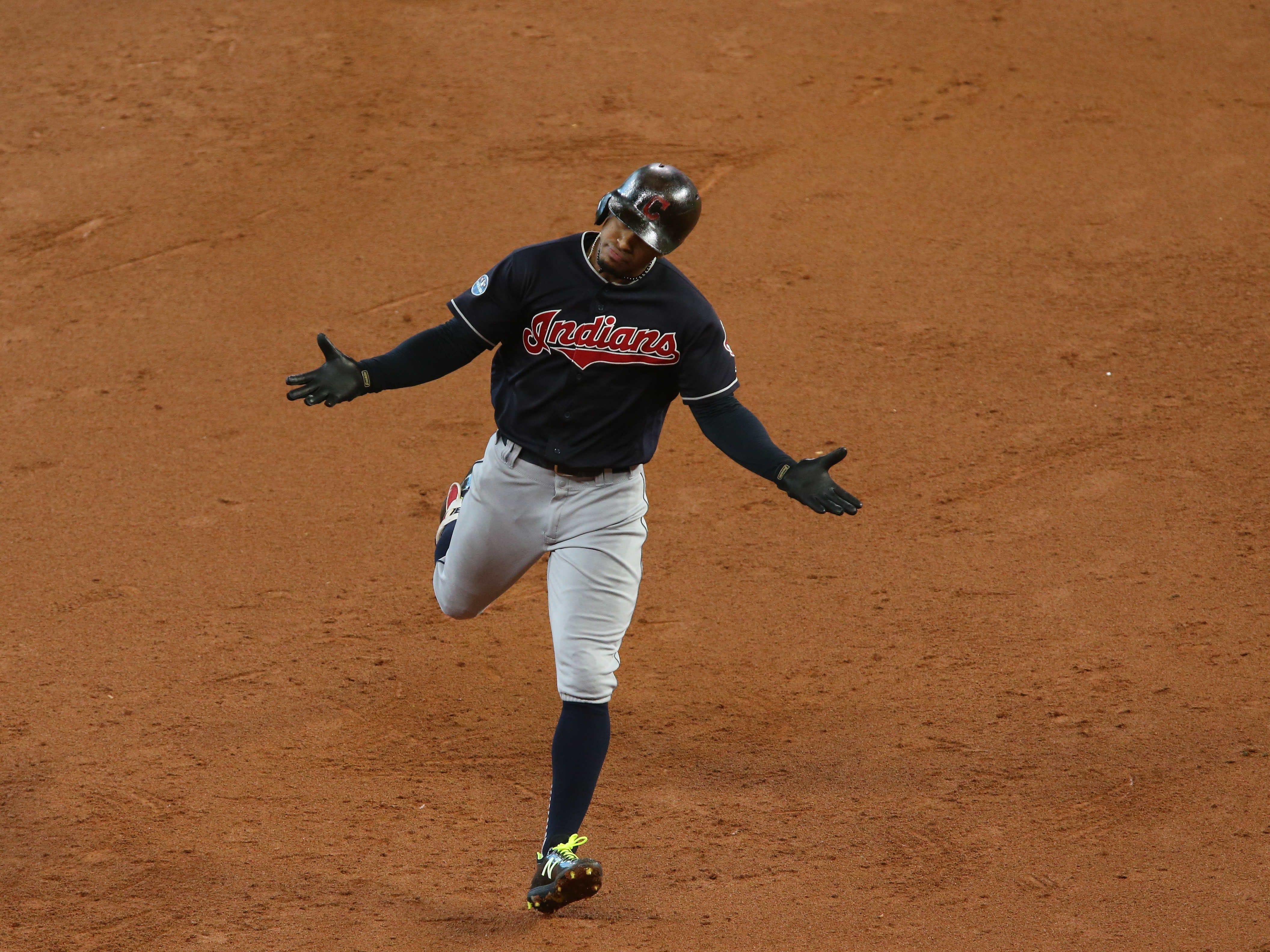 ALDS Game 2: Indians shortstop Francisco Lindor rounds the bases after a solo home run in the third inning.
