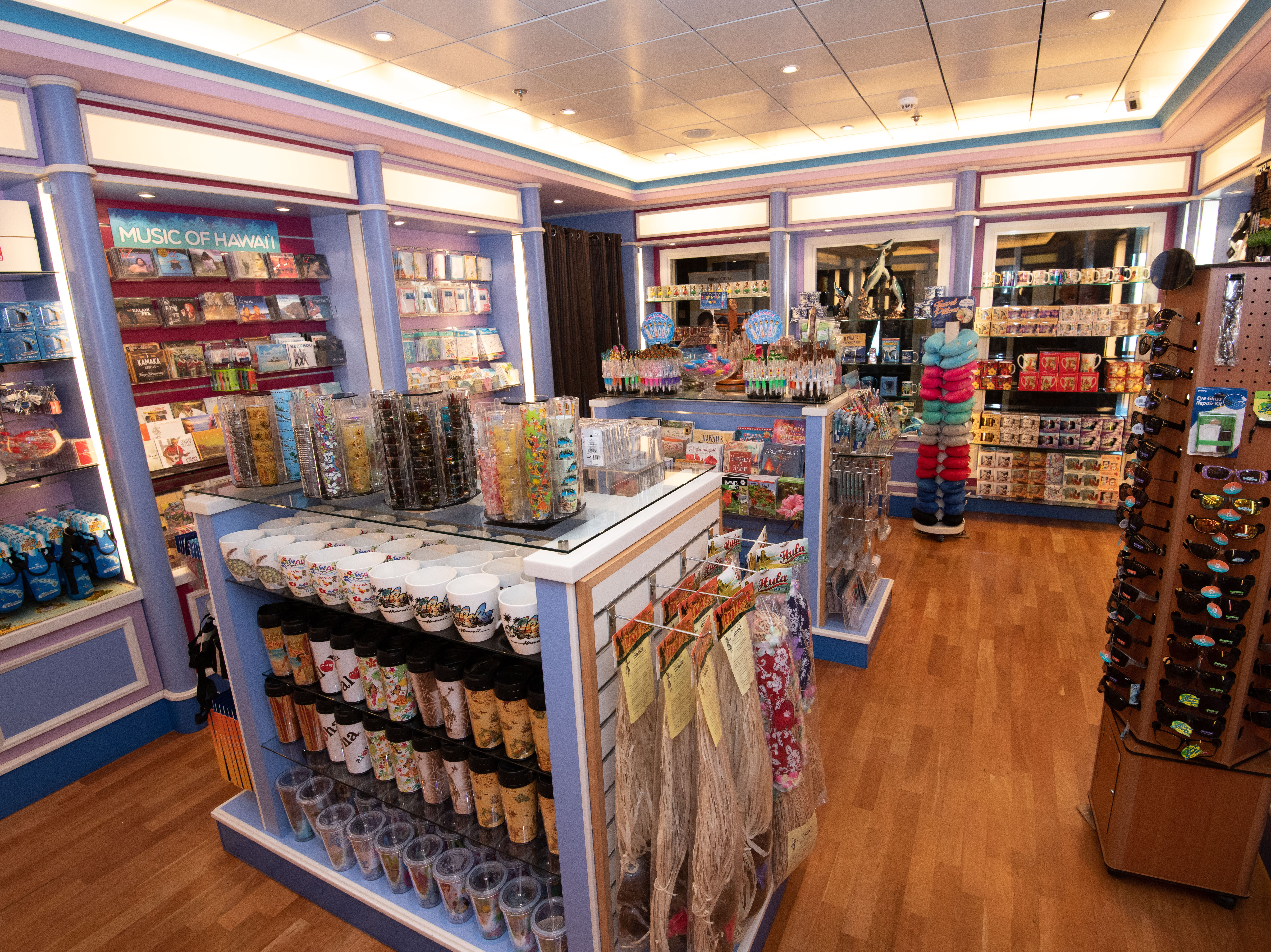 Island Treasures, located in the retail area of Pride of America, sells Hawaii souvenirs as well as toiletries.