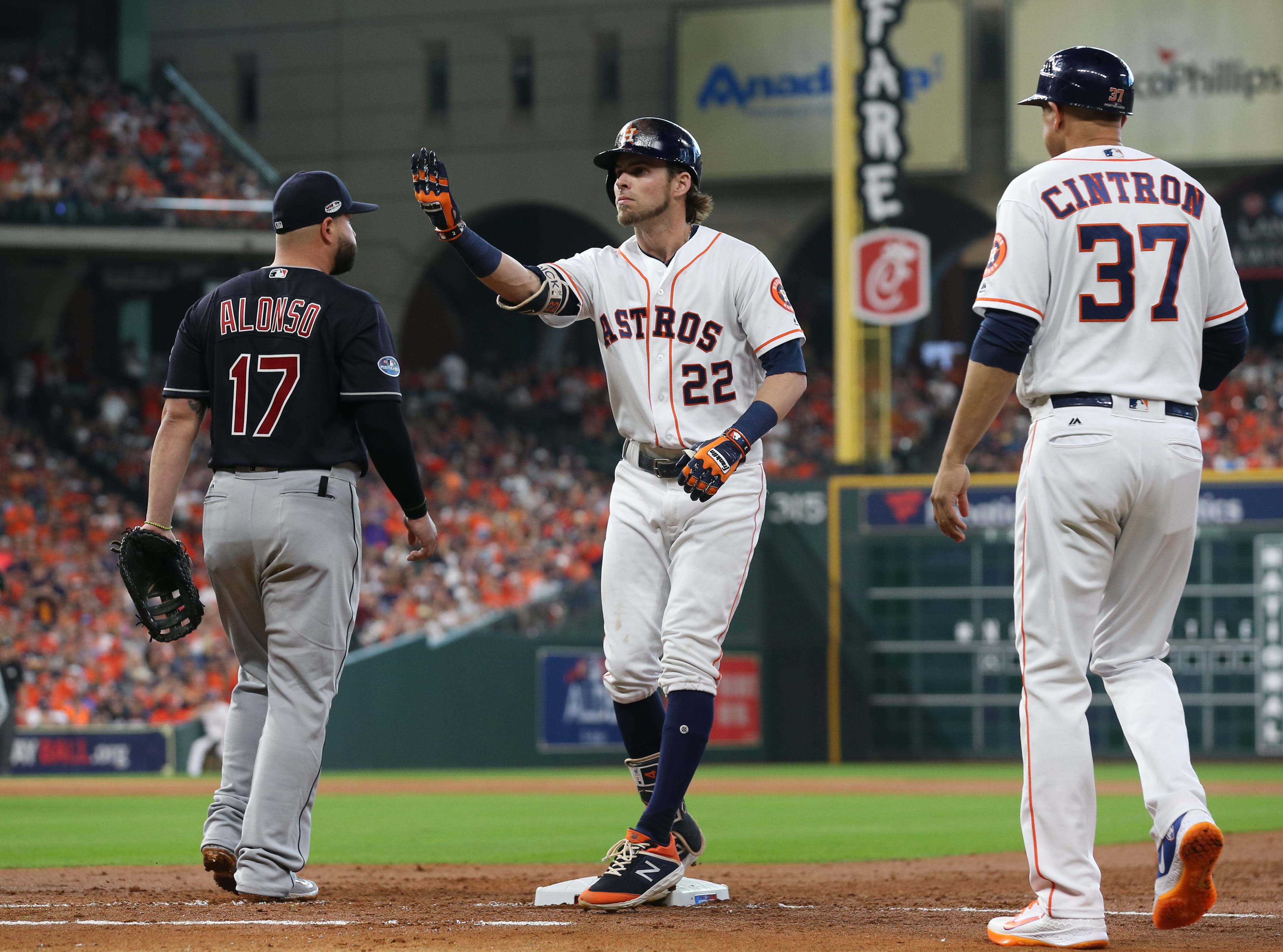 ALDS Game 2: Astros right fielder Josh Reddick points to the dugout after a single in the third inning.