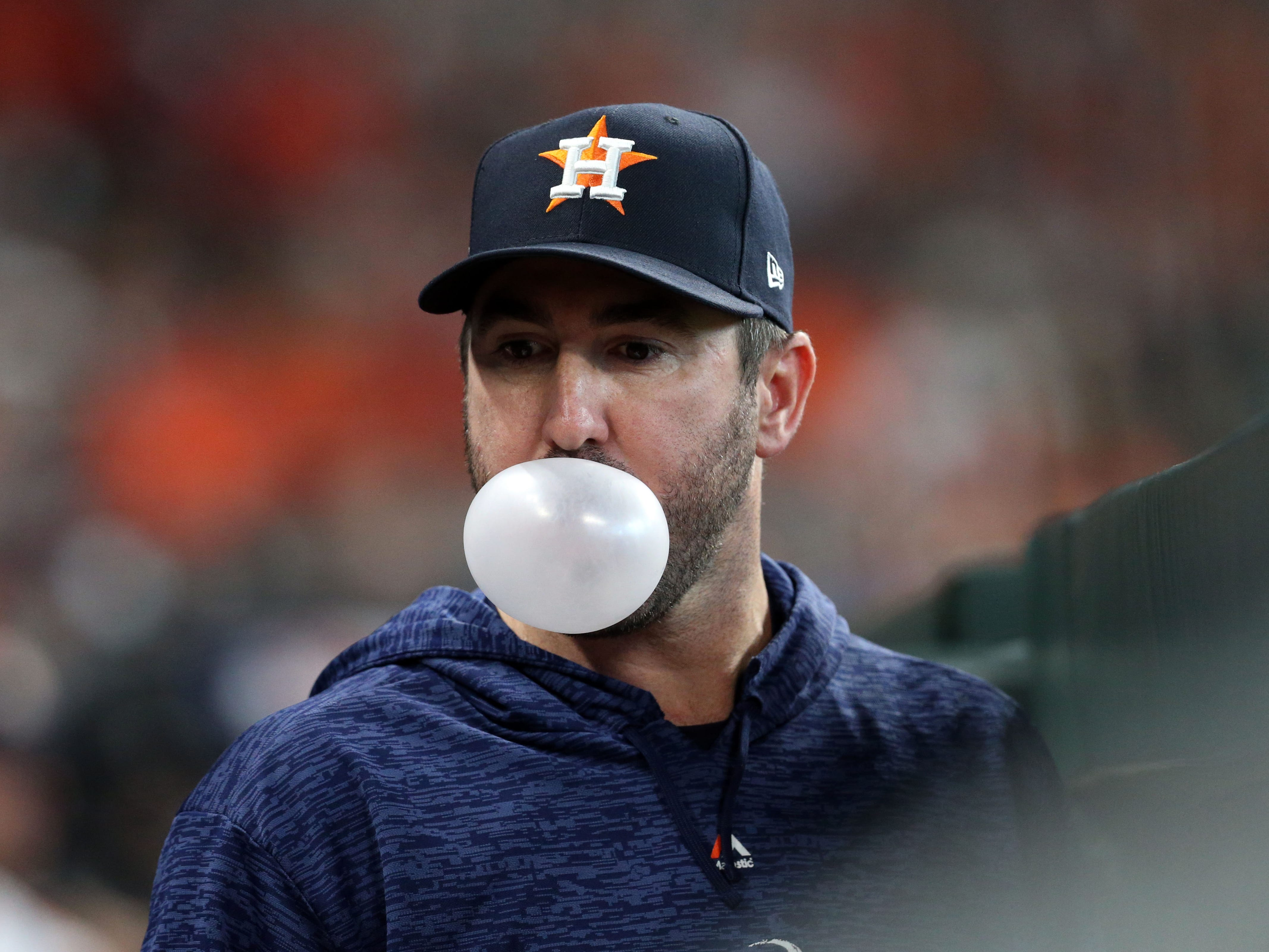 ALDS Game 2: Bubble gum anyone? Astros starting pitcher Justin Verlander shows off his skills.