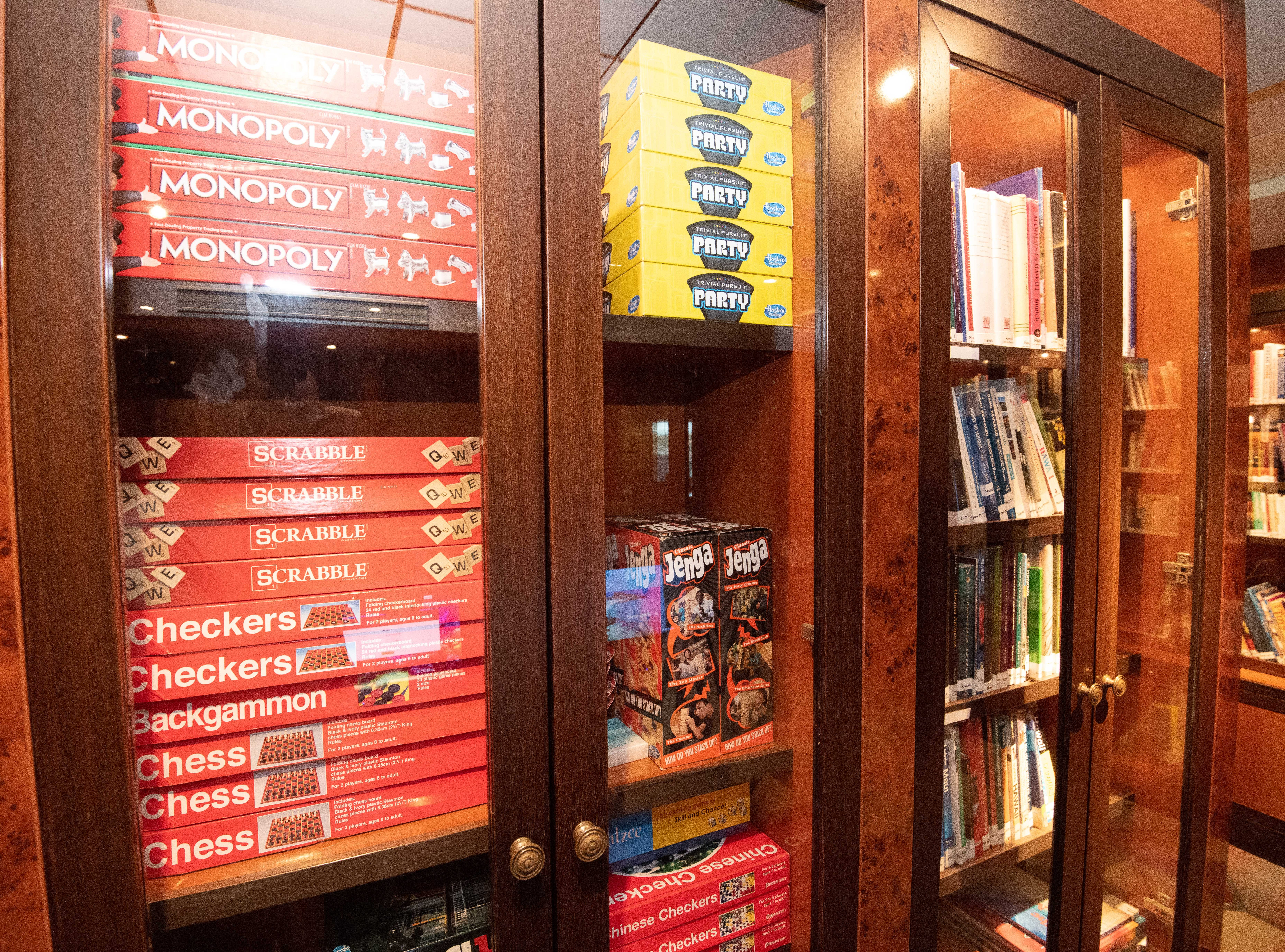 A wide range of board games including Scrabble and Monopoly are available for passenger use in the SS America Library.