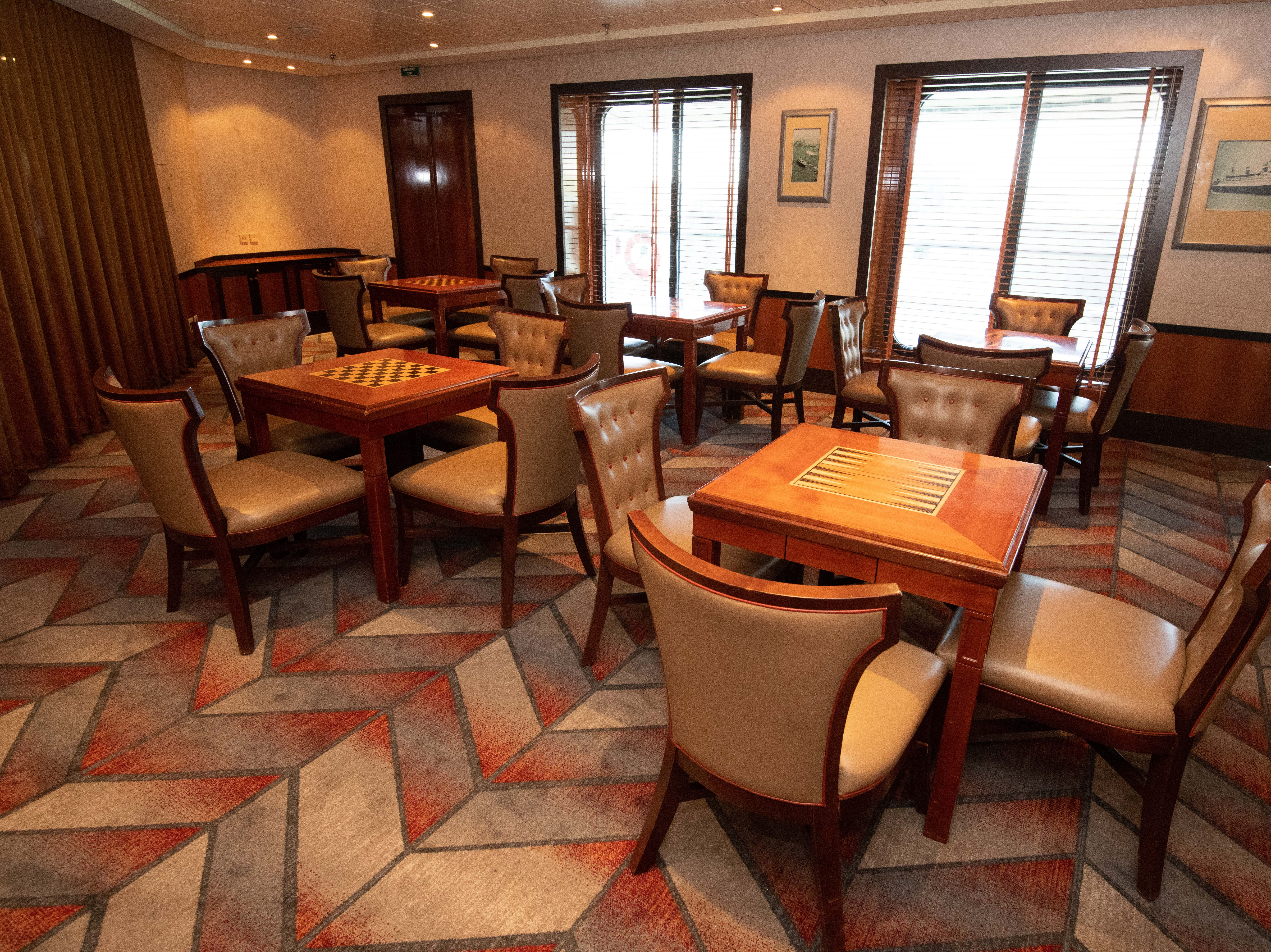 Other public areas on Deck 6 include the Shuffles Card Room, which offers backgammon, checkers and other games.