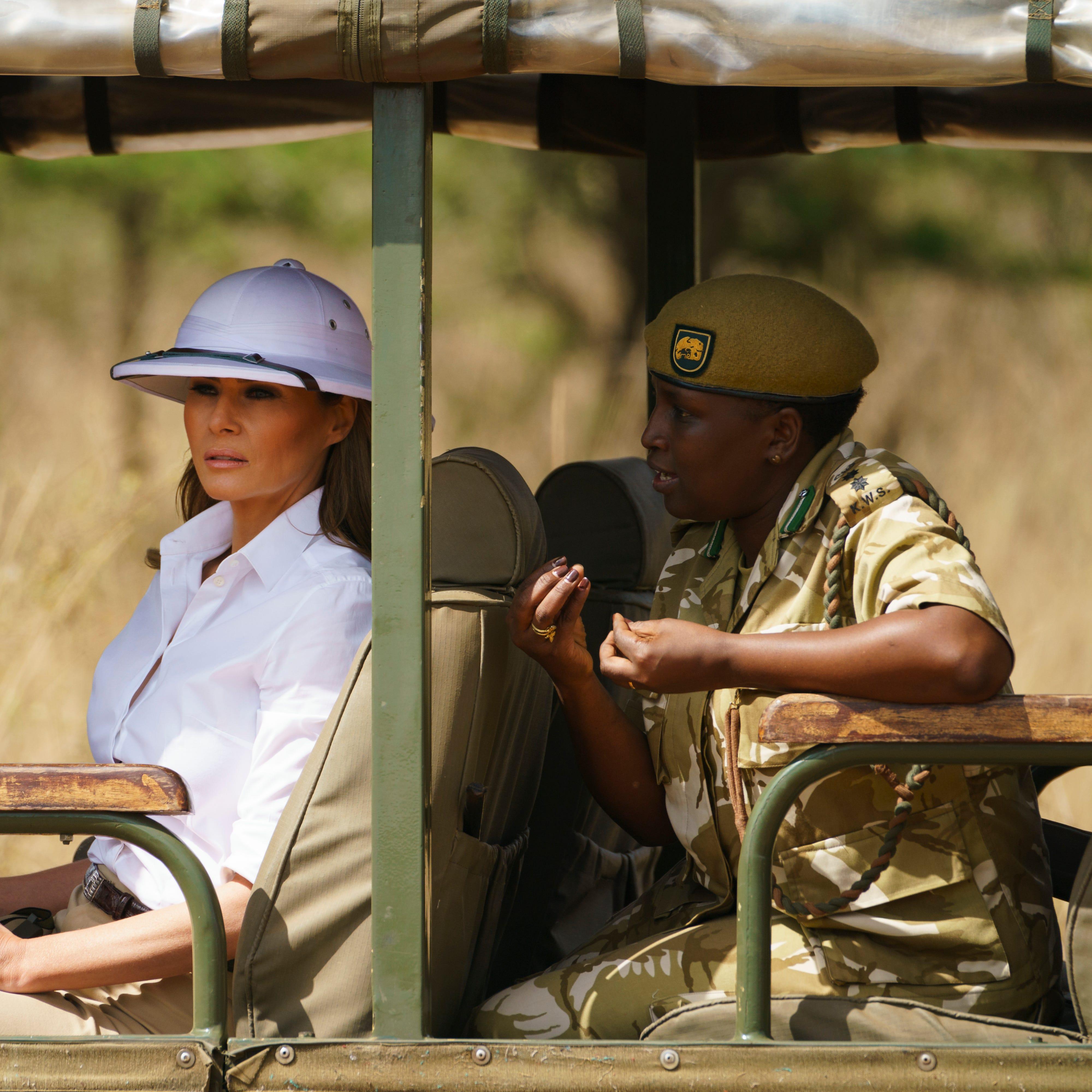 Melania Trump looks out over Nairobi National Park in Nairobi, Kenya on Oct. 5, 2018.