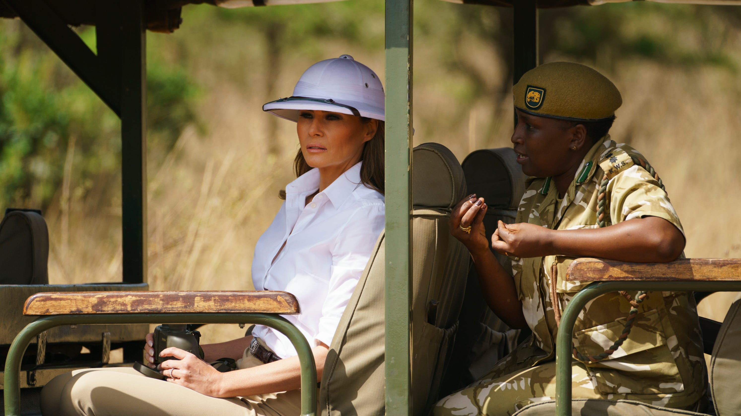 Melania Trump criticized for wearing 'colonial' pith helmet