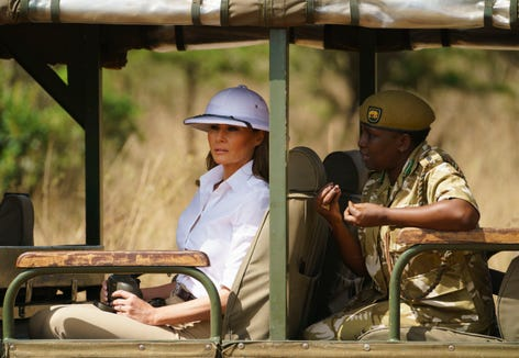 Melania Trump looks out over Nairobi National Park in Nairobi, Kenya on Oct. 5, 2018.