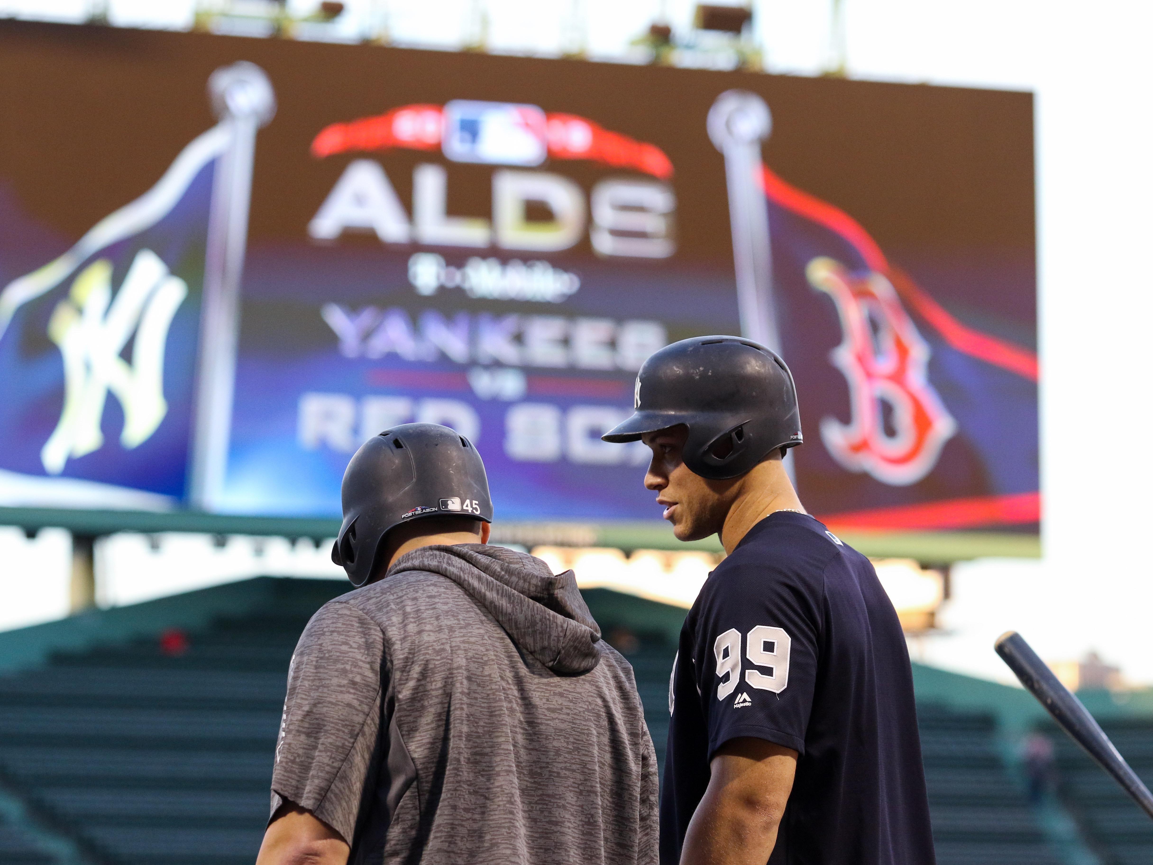 ALDS Game 1: Yankees right fielder Aaron Judge first baseman Luke Voit take batting practice.
