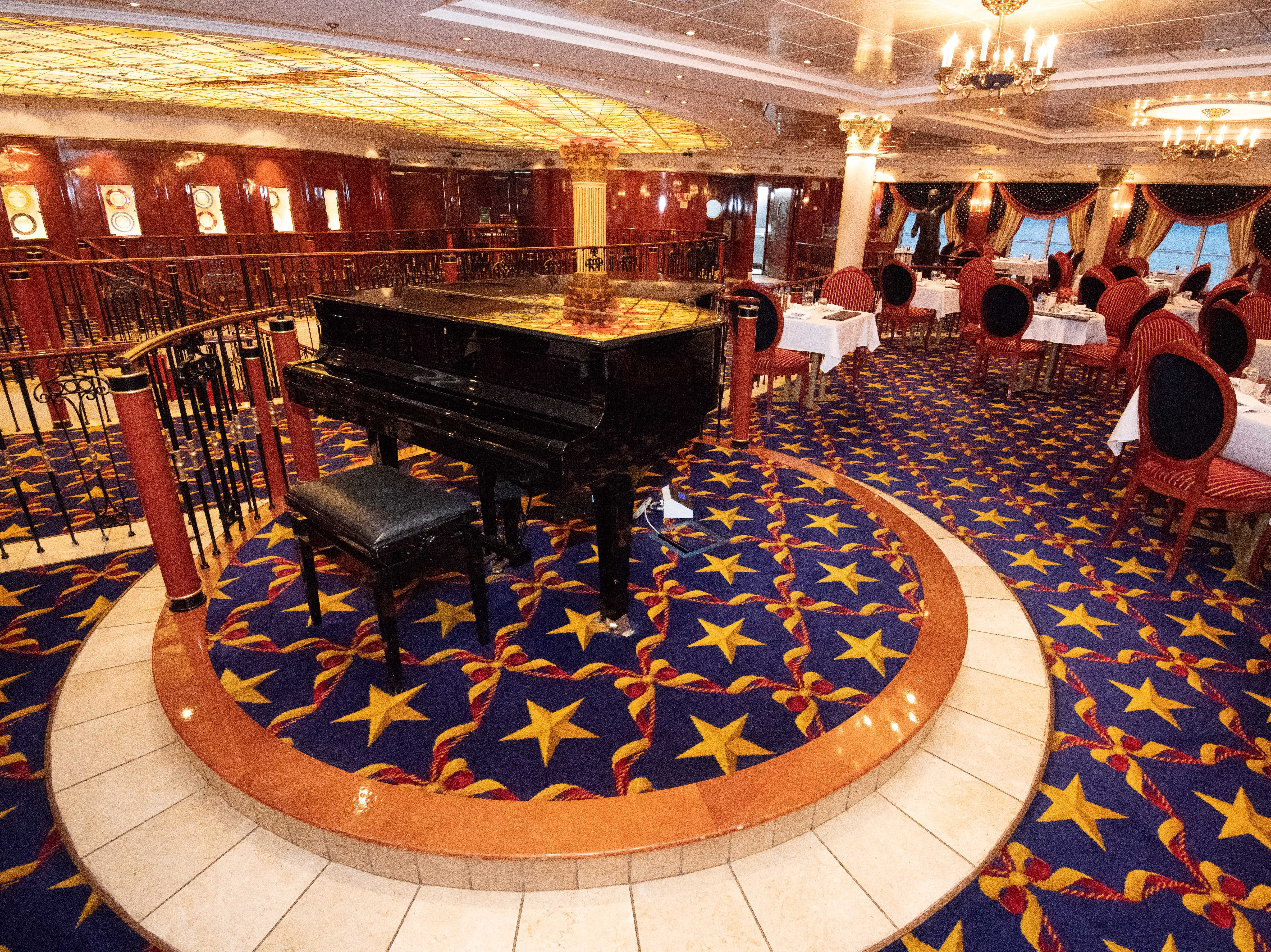 The Liberty Main Dining Room has its own grand piano near its entrance.