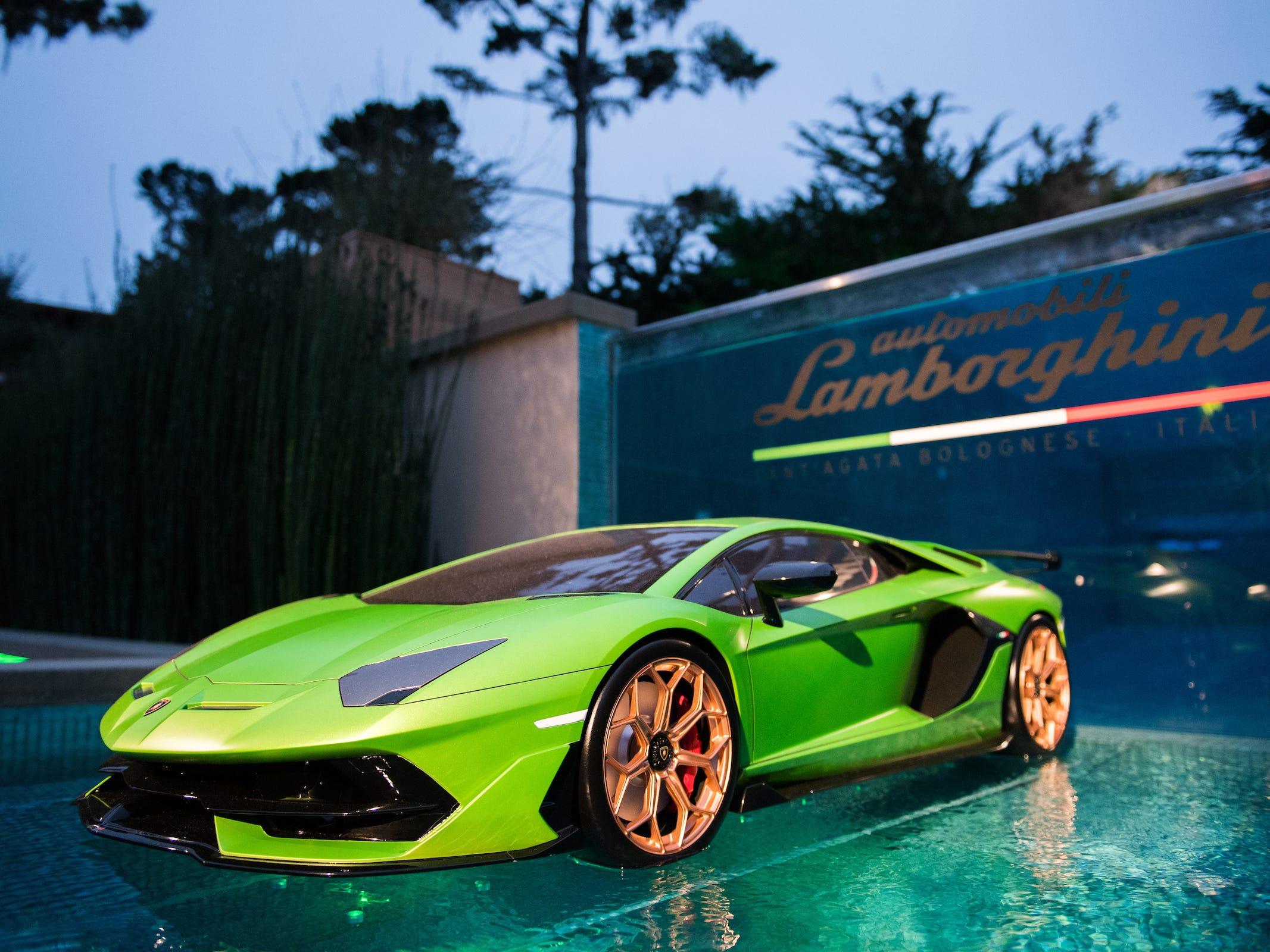 Lamborghini  Aventador SVJ on display at Lamborghini Lounge Monterey