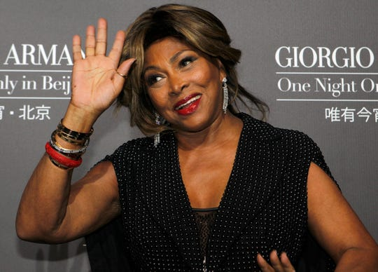 Tina Turner arrives for the Giorgio Armani fashion show in Beijing on May 31, 2012.