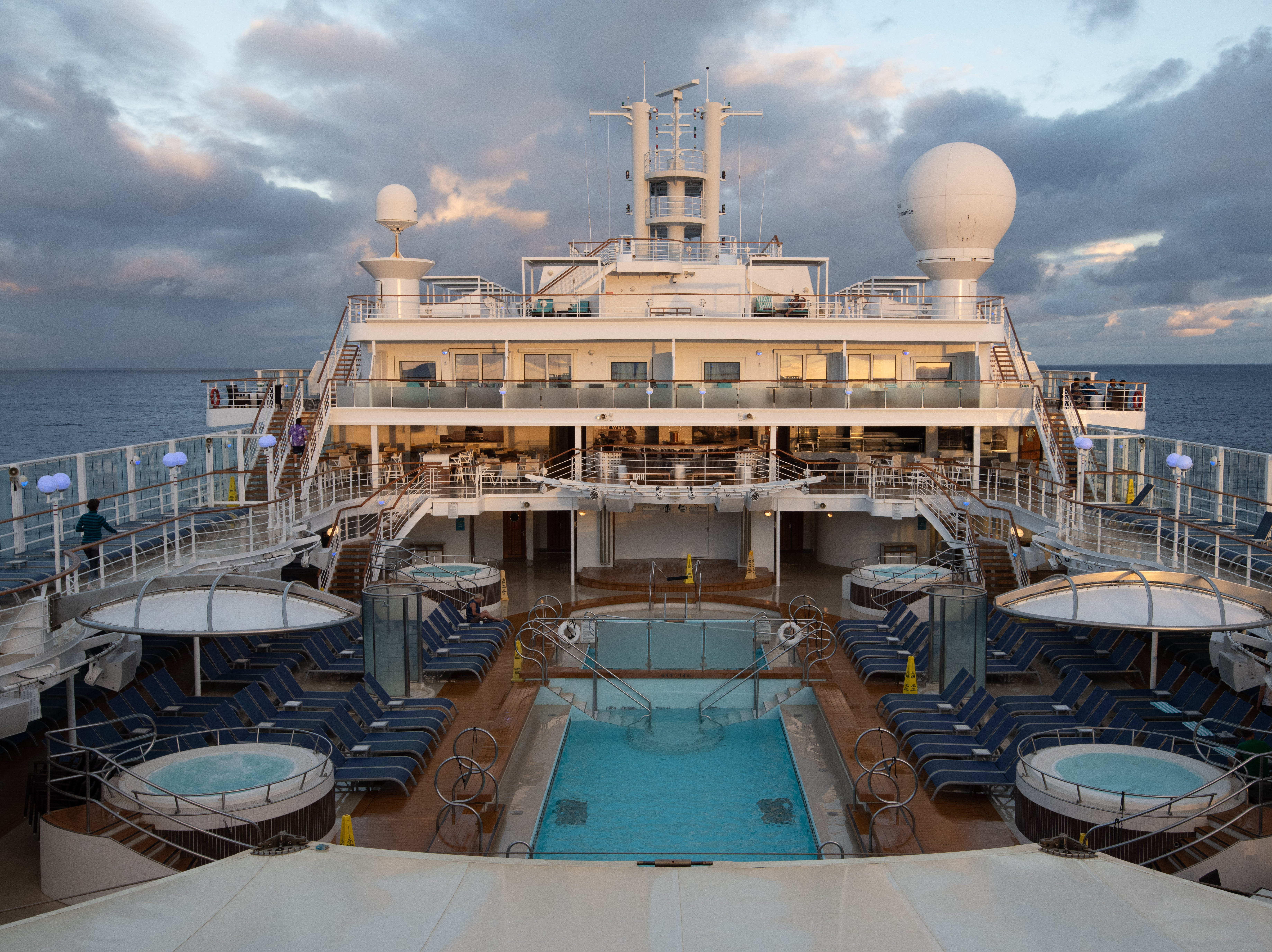 The hub of Pride of America's outdoor deck areas is the South Beack Pool zone. Located on Deck 11, it features two adjacent pools and four hot tubs -- two covered and two uncovered.