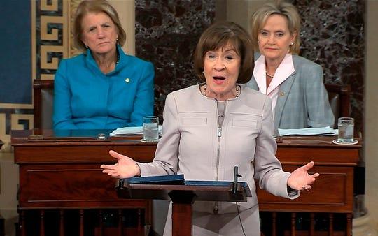 Sen. Susan Collins, R-Maine, announces support for Brett Kavanaugh on Senate floor, Oct. 5, 2018, Washington, D.C.