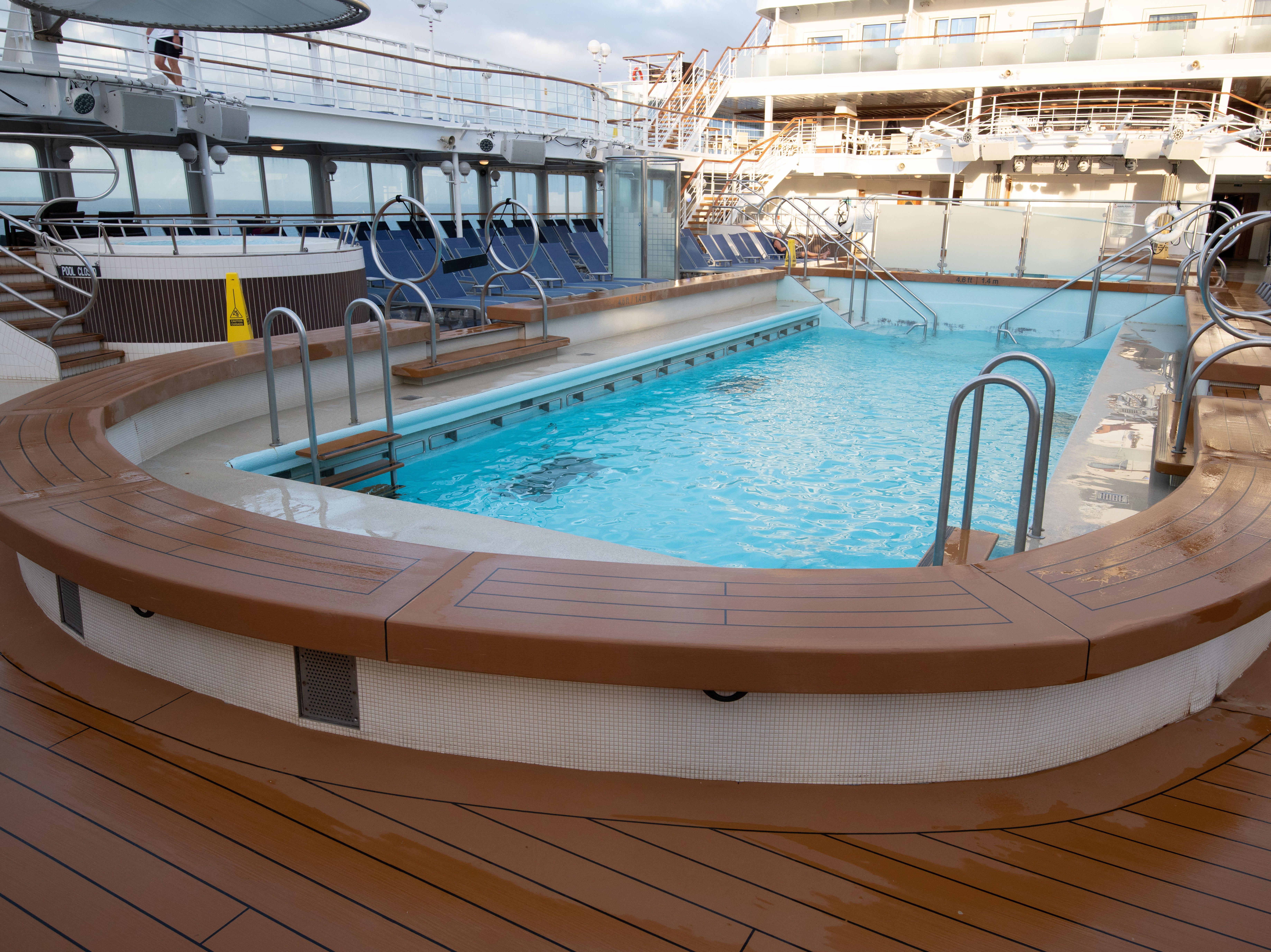 The South Beach Pool on Deck 11 appears to be one long pool but actually is comprised of two pools side by side.
