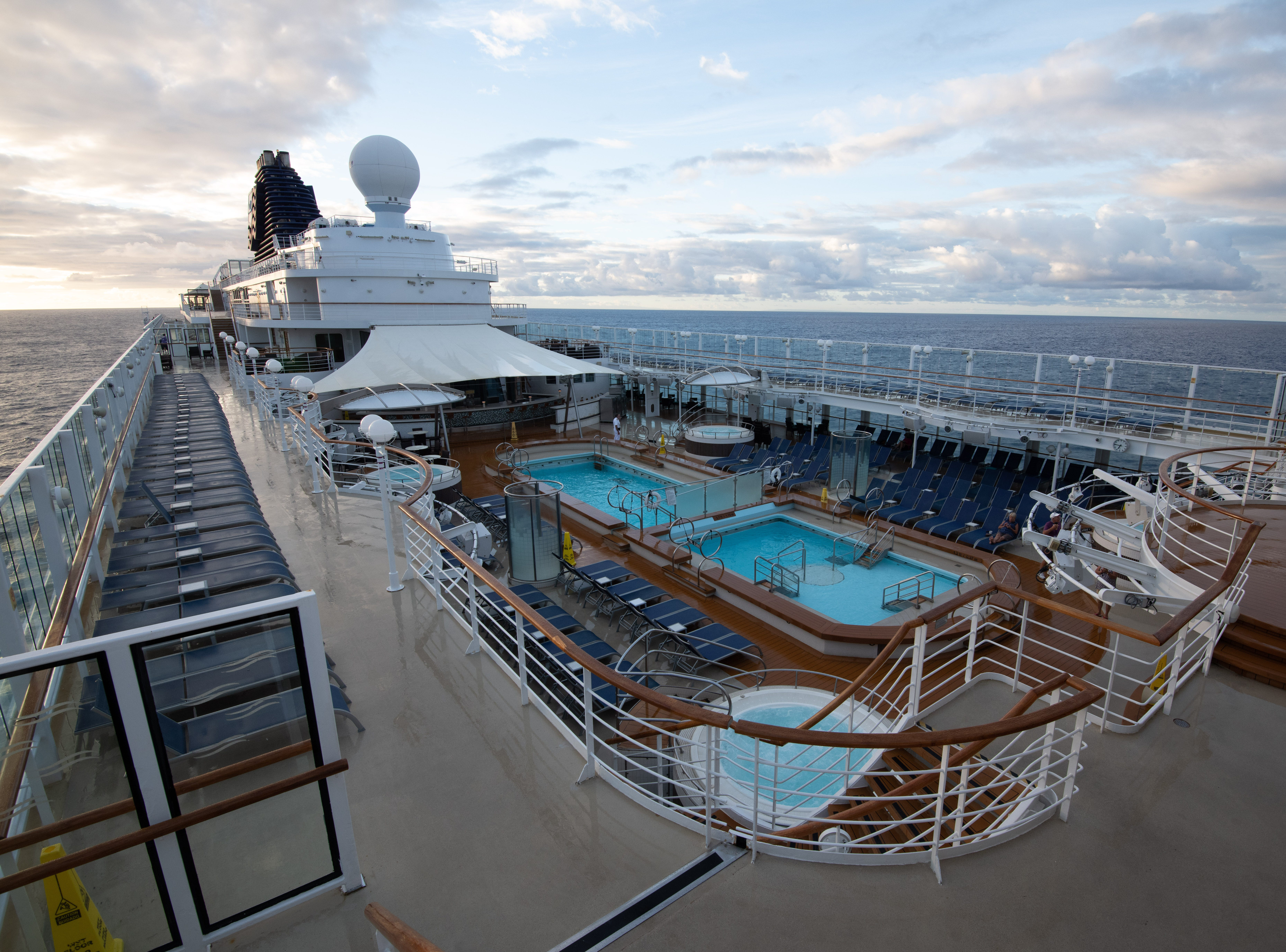 More lounge seating is available one deck up from the South Beach Pool zone along the sides of the ship.