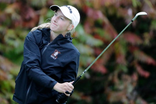 Kaukauna's Emma Moore watches her tee shot during the WIAA Division 1 sectional at Royal Scot Golf Course on Oct. 2.