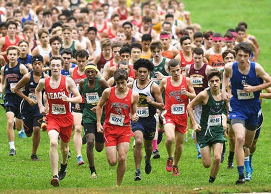 Boys Varsity G Heads Up The Hill At The New Balance Shore Coaches Invitational At Holmdel Park