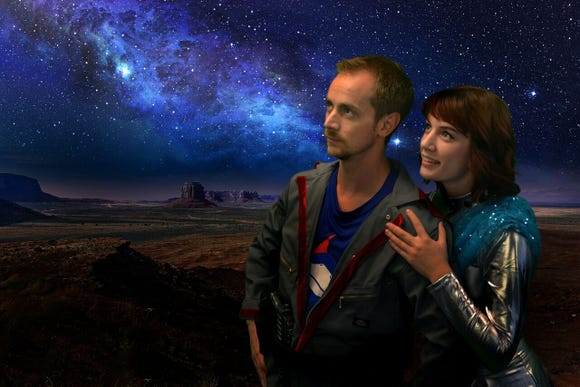 "Captain Tempest (Bob Reed) and Miranda (Megan Twamley) in BPA's ""Return to the Forbidden Planet."""