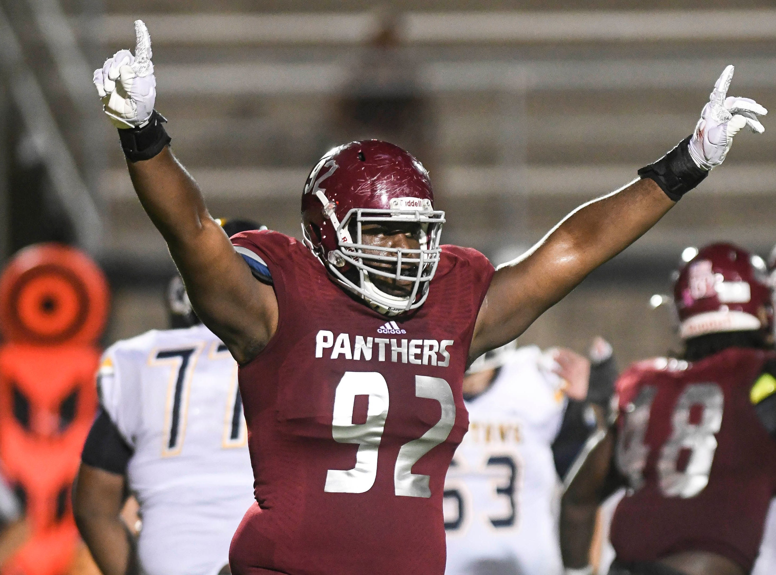 Braxton Larmond of Florida Tech celebrates a defensive play during Saturday's game at Panther Stadium