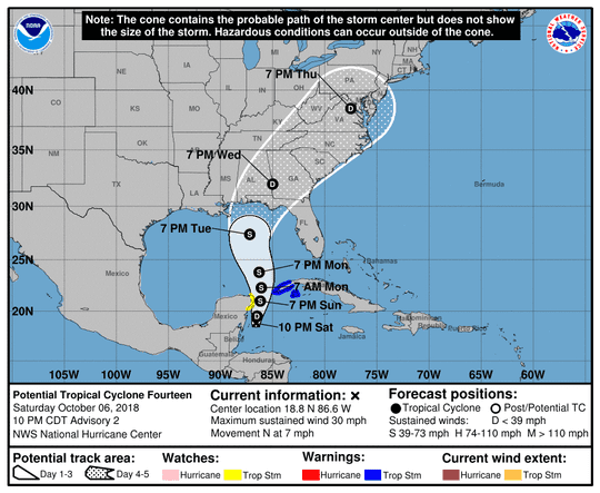 The expected path of what could become a tropical storm.
