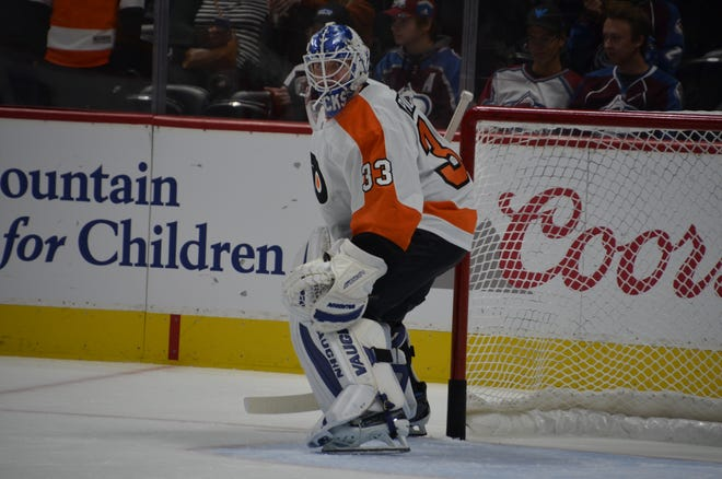 Calvin Pickard dressed for his first game as a Flyer Saturday, backing up Brian Elliott.
