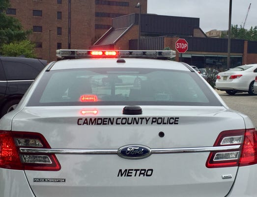 Camden county police car with flashers