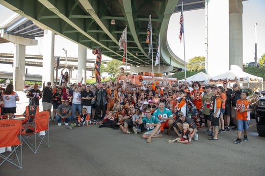 Bengals fans tailgate before the game with the Miami Dolphins at Paul Brown Stadium on Sunday, Oct. 7, 2018.
