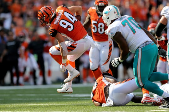 Cincinnati Bengals defensive end Sam Hubbard (94) returns returns an interception for a touchdown in the fourth quarter during the Week 5 NFL game between the Miami Dolphins and the Cincinnati Bengals, Sunday, Oct. 7, 2018, at Paul Brown Stadium in Cincinnati. Cincinnati 27-17.