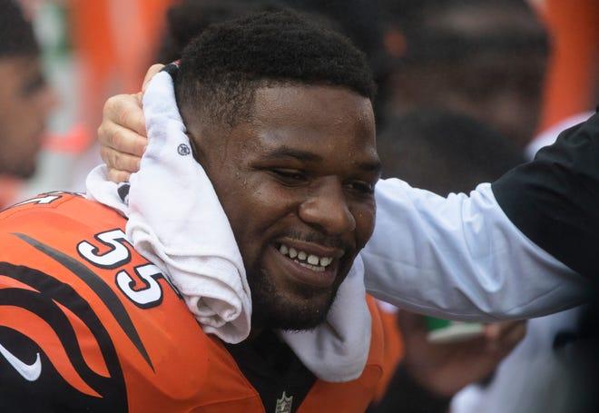 Cincinnati Bengals linebacker Vontaze Burfict (55) smiles during a Week 5 NFL game between the Cincinnati Bengals and the Miami Dolphins, Sunday, Oct. 7, 2018, at Paul Brown Stadium in Cincinnati.