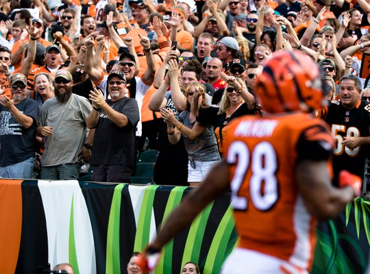 Cincinnati Bengals fans cheer after Miami Dolphins cornerback Bobby McCain (28) scored a touchdown during a Week 5 NFL game between the Cincinnati Bengals and the Miami Dolphins, Sunday, Oct. 7, 2018, at Paul Brown Stadium in Cincinnati.