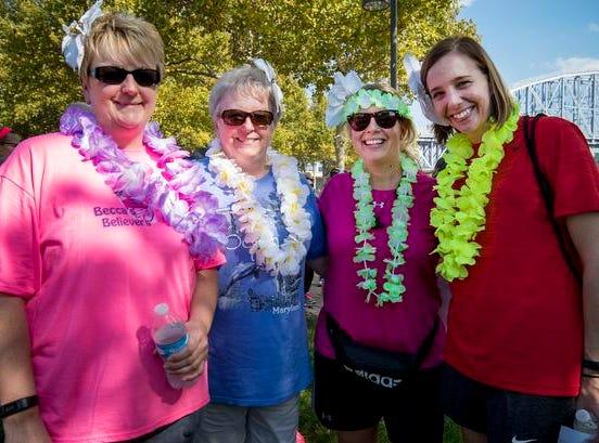 Kristin Miller, Sharon Mackzum, Gina Smeriglio and Pam Chialastri attend the Margarita Madness 5K race through Sawyer Point Saturday in Cincinnati.