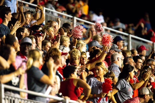 Austin Peay Governors fans cheer during the first half at Fortera Stadium Saturday, Oct. 6, 2018, in Clarksville, Tenn.