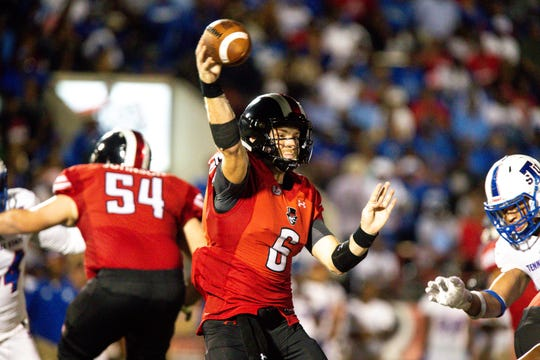 Austin Peay Governors quarterback Jeremiah Oatsvall (6) throws the ball during the second half at Fortera Stadium Saturday, Oct. 6, 2018, in Clarksville, Tenn.